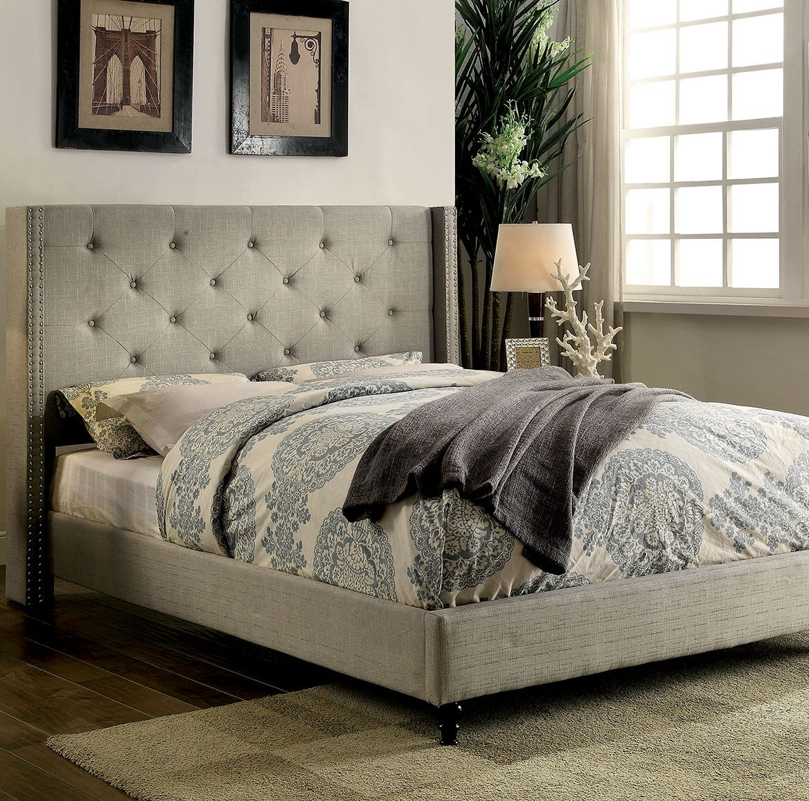Lanigan Upholstered Wingback Bed Size: Full, Color: Warm Gray
