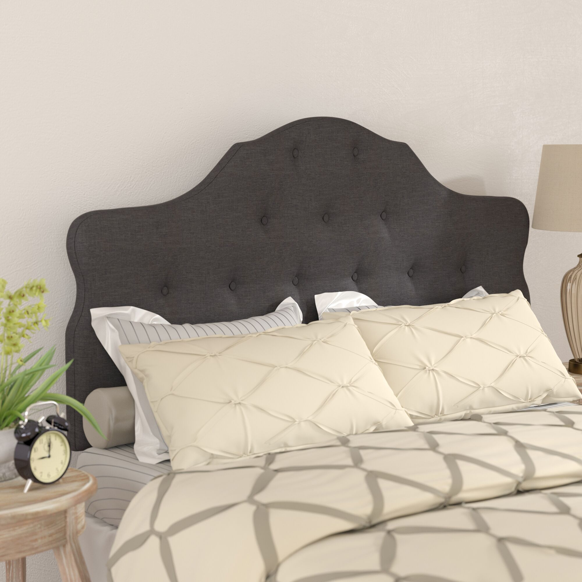 Middlebrooks Upholstered Panel Headboard Upholstery: Dark Gray, Size: Queen