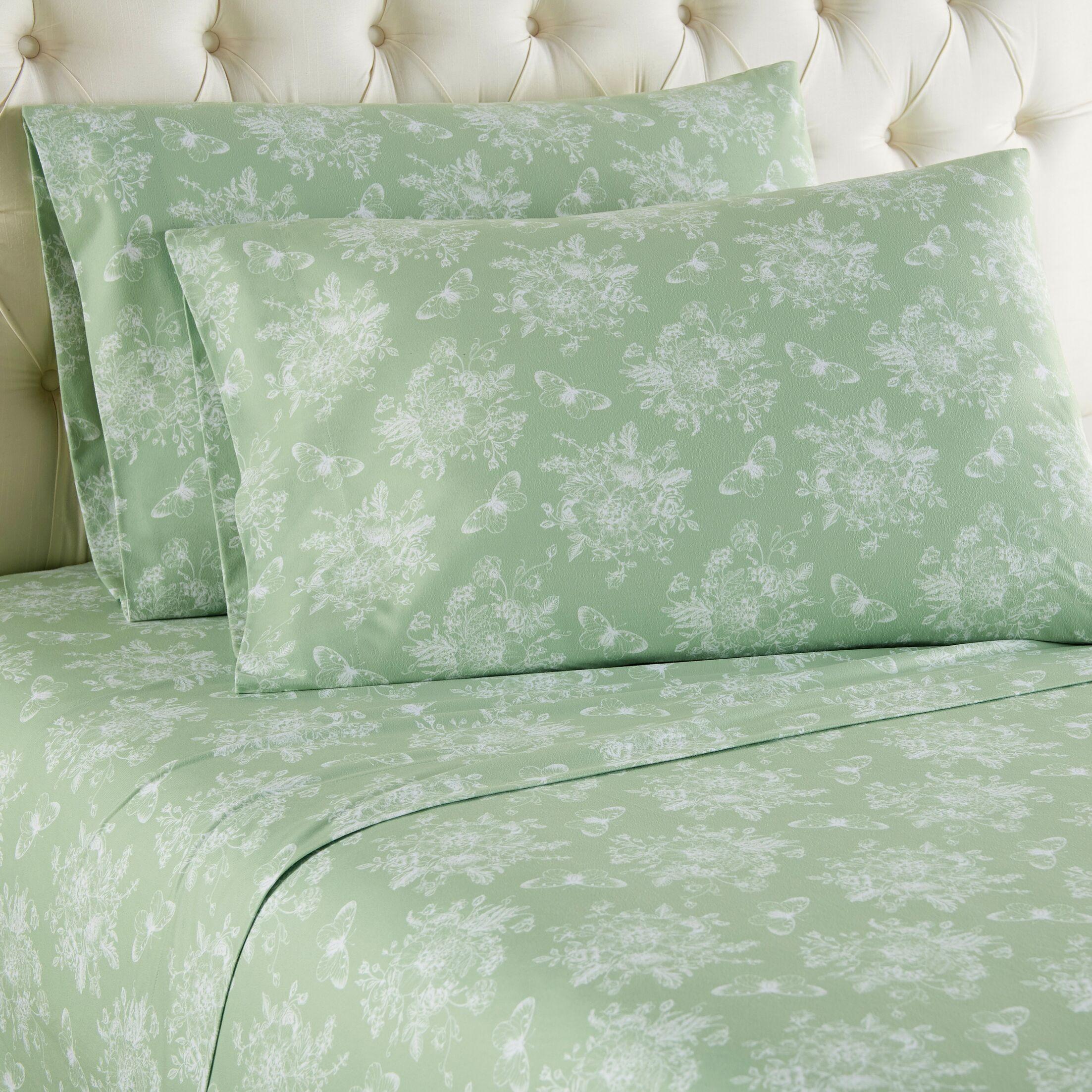 Yokota Toile Sheet Set Color: Green, Size: Full