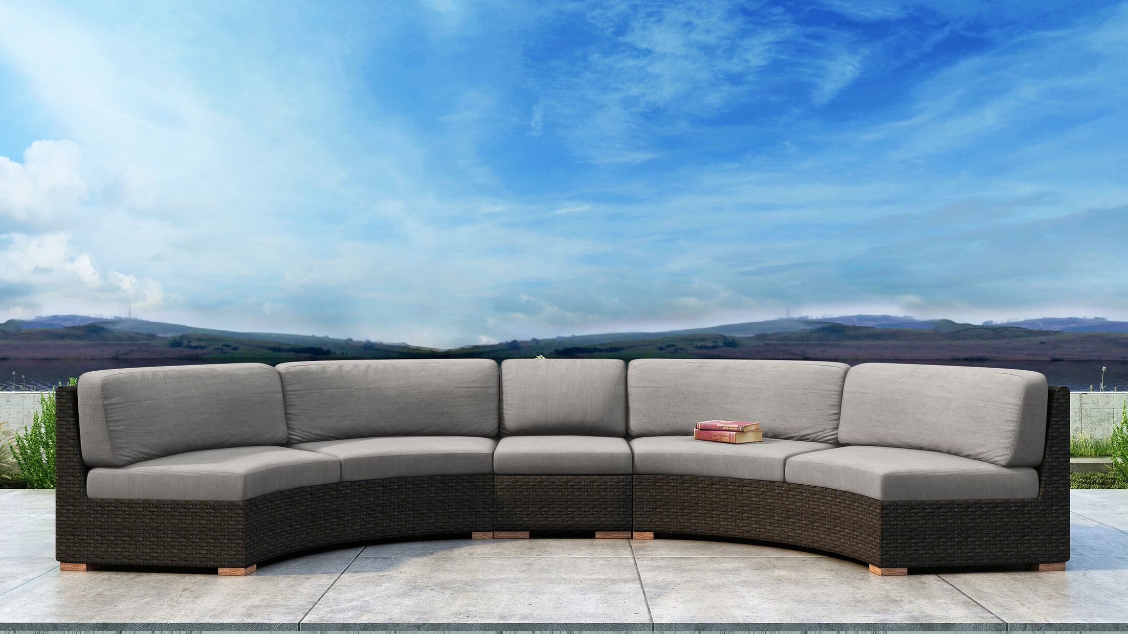 Glen Ellyn 3 Piece Sectional Set with Sunbrella Cushion Cushion Color: Cast Silver