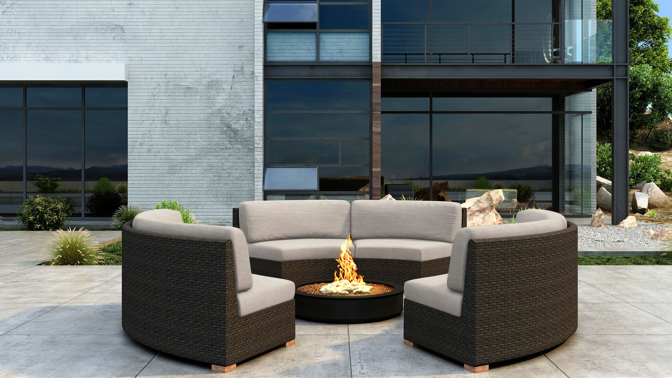Glen Ellyn 3 Piece Sectional Set with Sunbrella Cushion Cushion Color: Canvas Flax