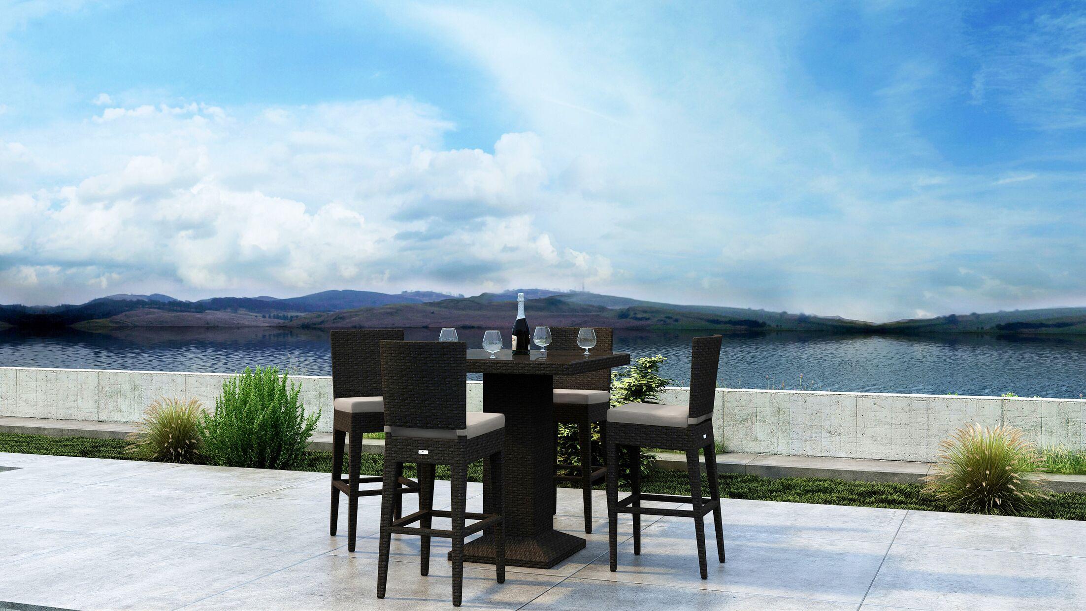 Glen Ellyn 5 Piece Dining Set with Sunbrella Cushion Cushion Color: Canvas Flax