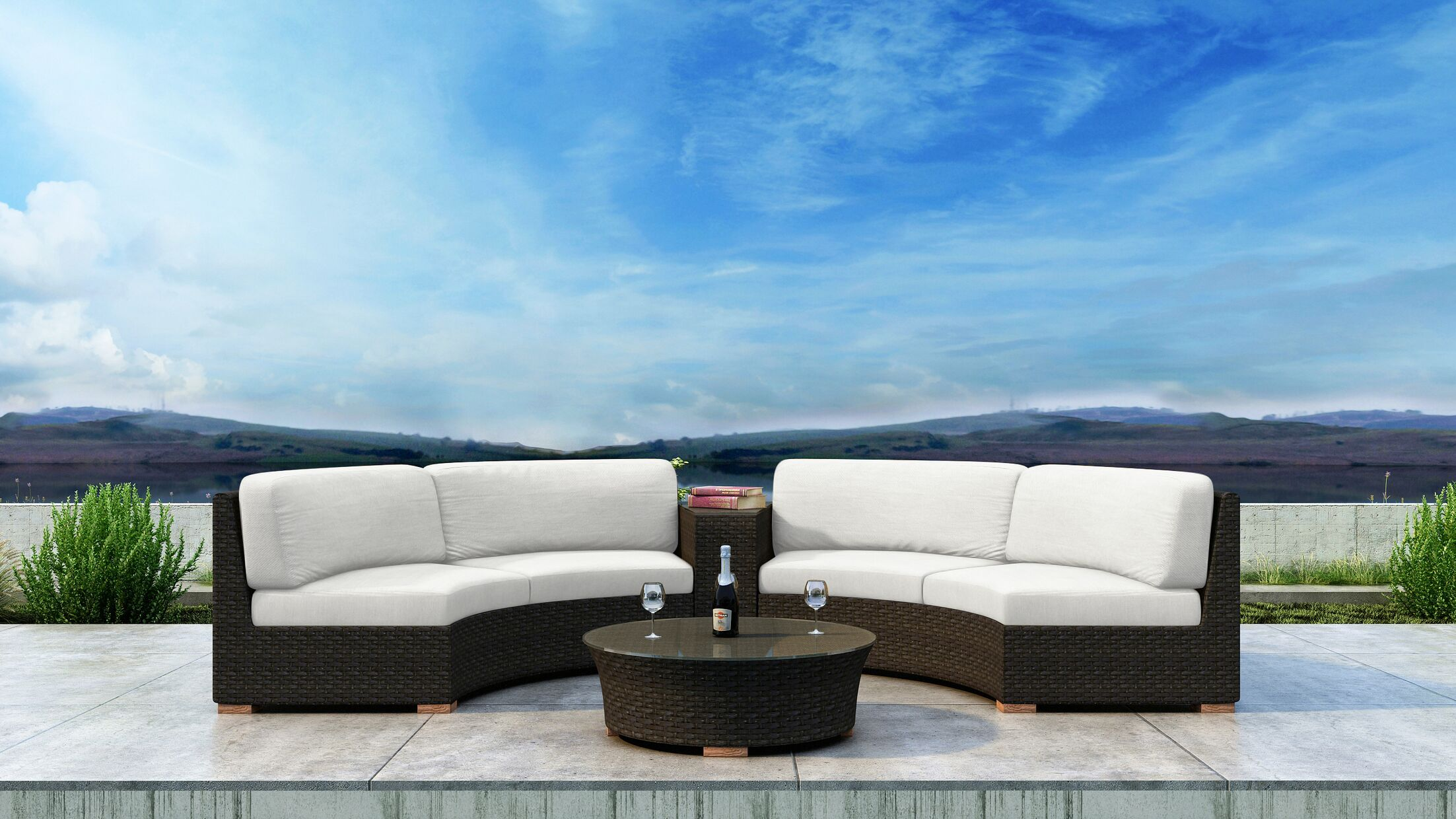 Glen Ellyn 4 Piece Sectional Set with Sunbrella Cushion Cushion Color: Canvas Natural