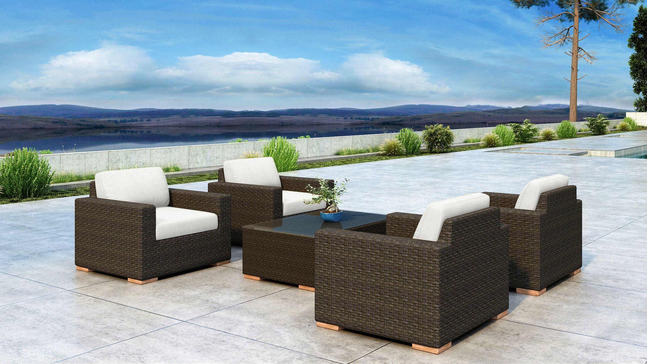 Glen Ellyn 5 Piece Sofa Set with Sunbrella Cushion Cushion Color: Canvas Natural