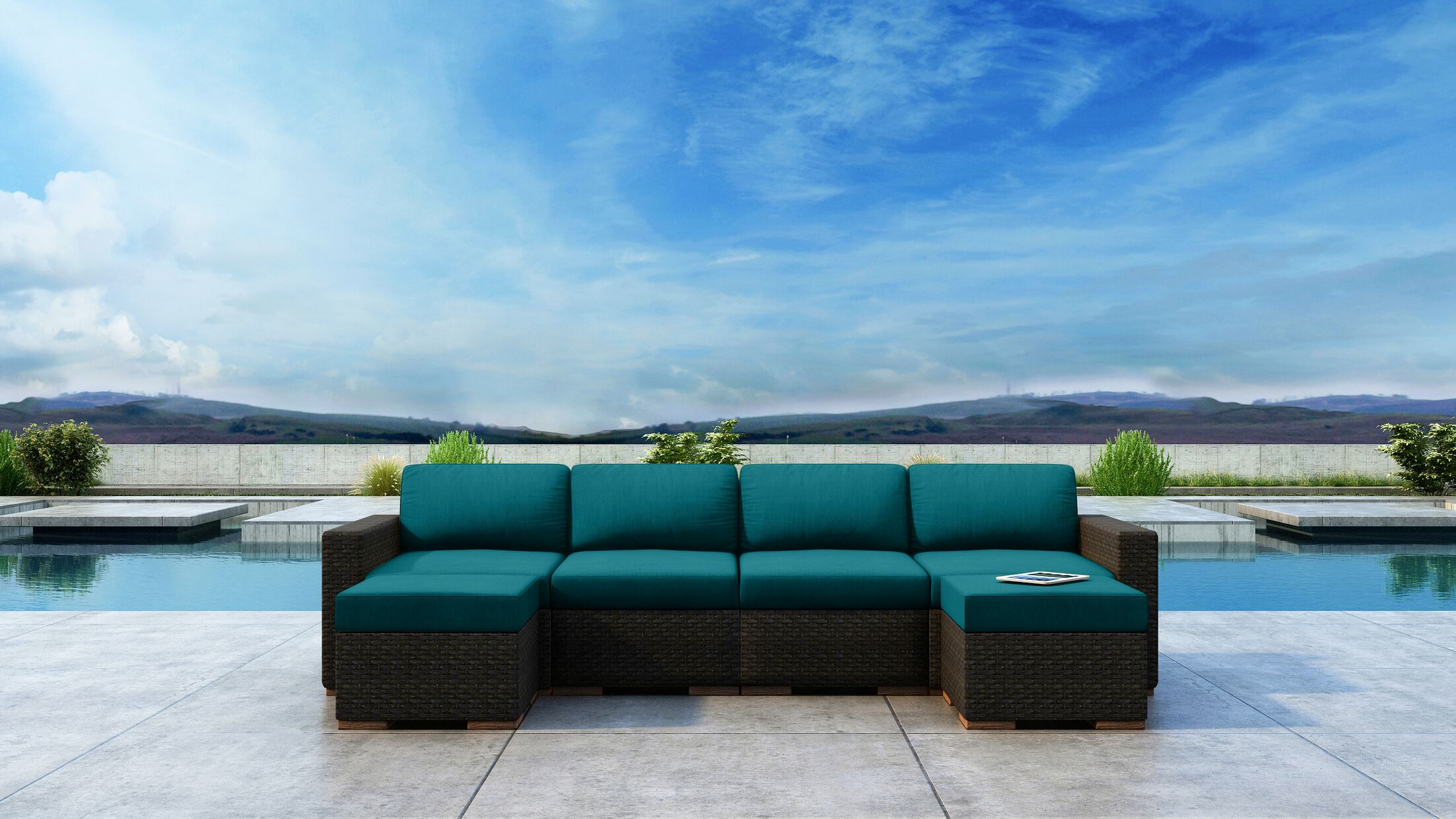 Glen Ellyn 6 Piece Sectional Set with Sunbrella Cushion Cushion Color: Spectrum Peacock