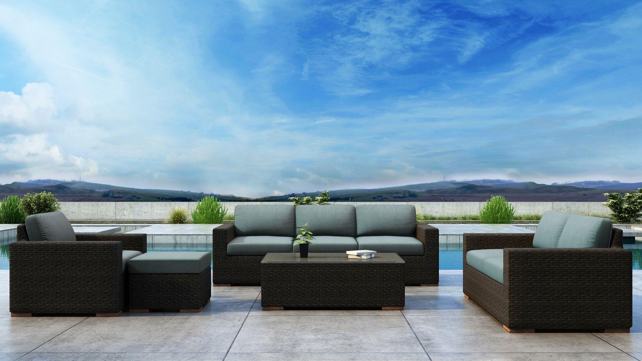 Glen Ellyn 5 Piece Sofa Set with Sunbrella Cushion Cushion Color: Canvas Spa