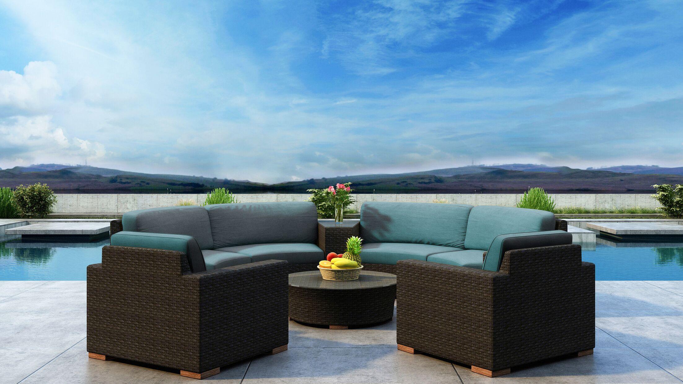 Glen Ellyn 6 Piece Sectional Set with Sunbrella Cushion Cushion Color: Cast Lagoon