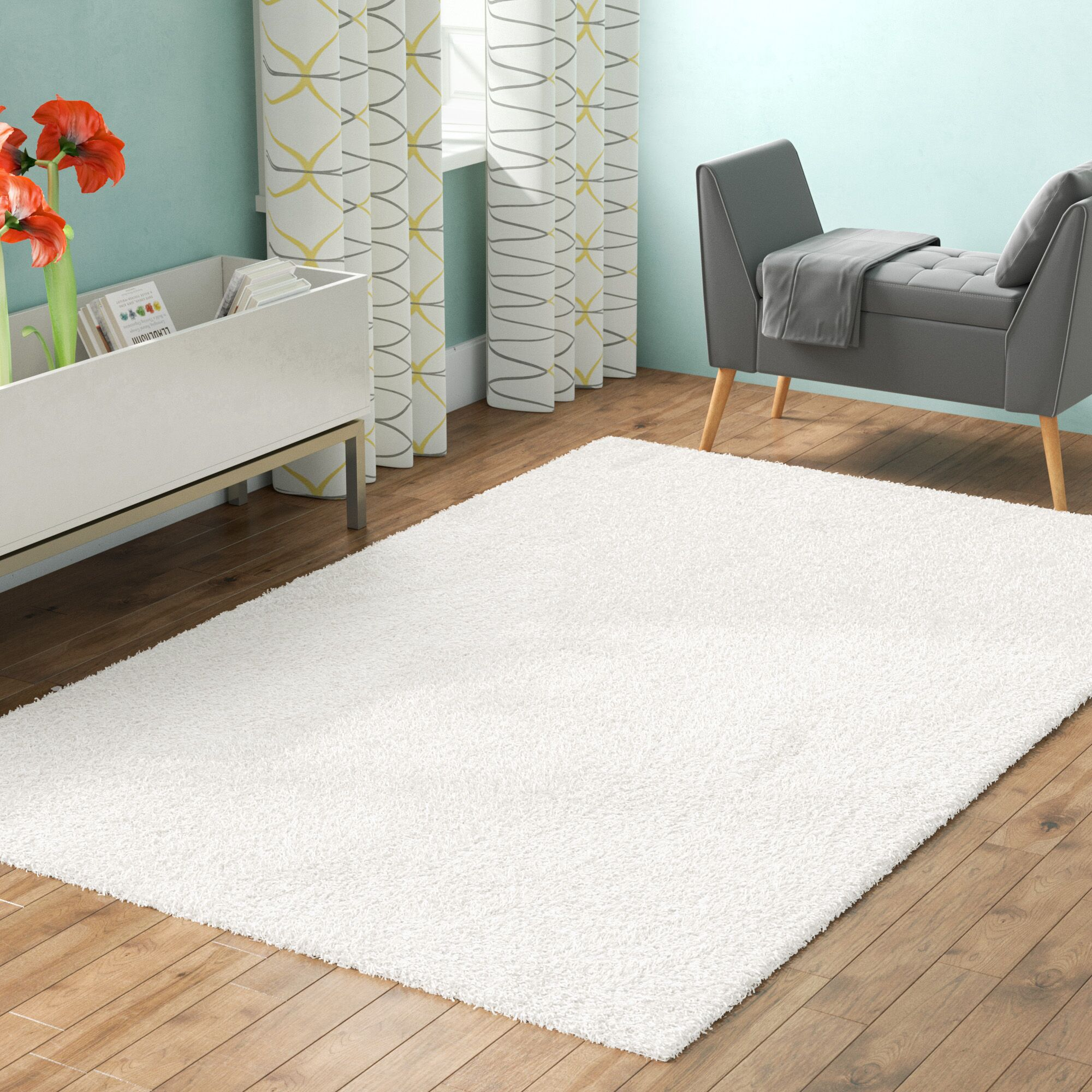 Kourtney White Area Rug Rug Size: Rectangle 6' x 9'