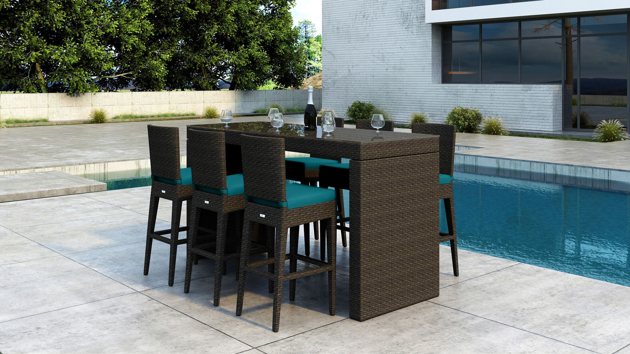 Glen Ellyn 7 Piece Bar Height Dining Set with Sunbrella Cushion Cushion Color: Spectrum Peacock
