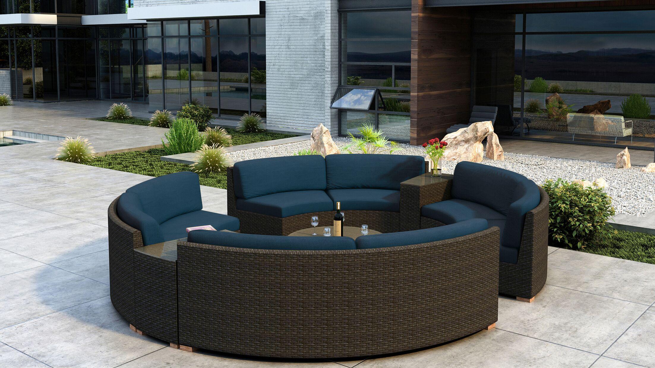 Glen Ellyn 7 Piece Sectional Set with Sunbrella Cushion Cushion Color: Spectrum Indigo