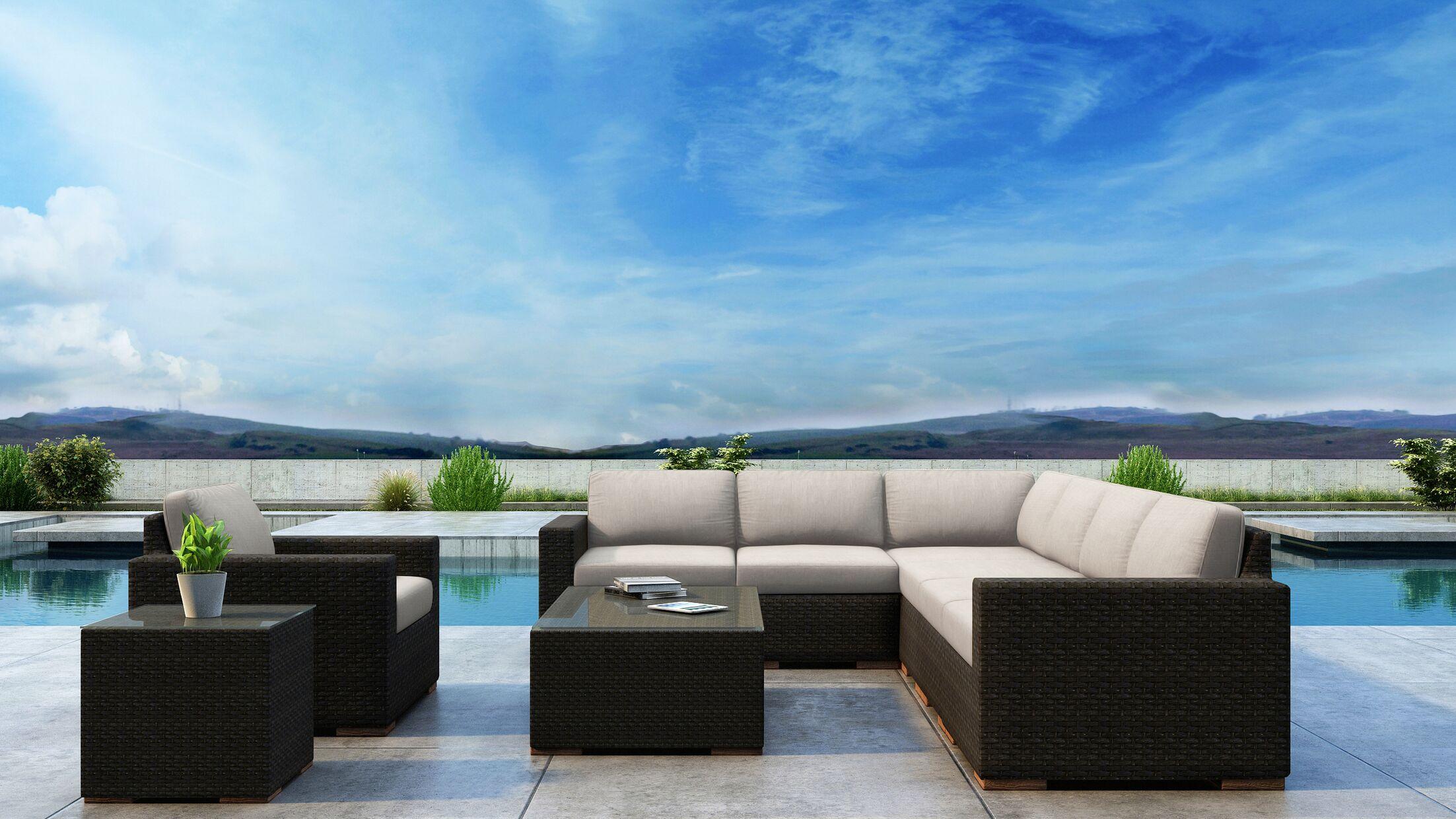 Glen Ellyn 9 Piece Sectional Set with Sunbrella Cushion Cushion Color: Canvas Flax
