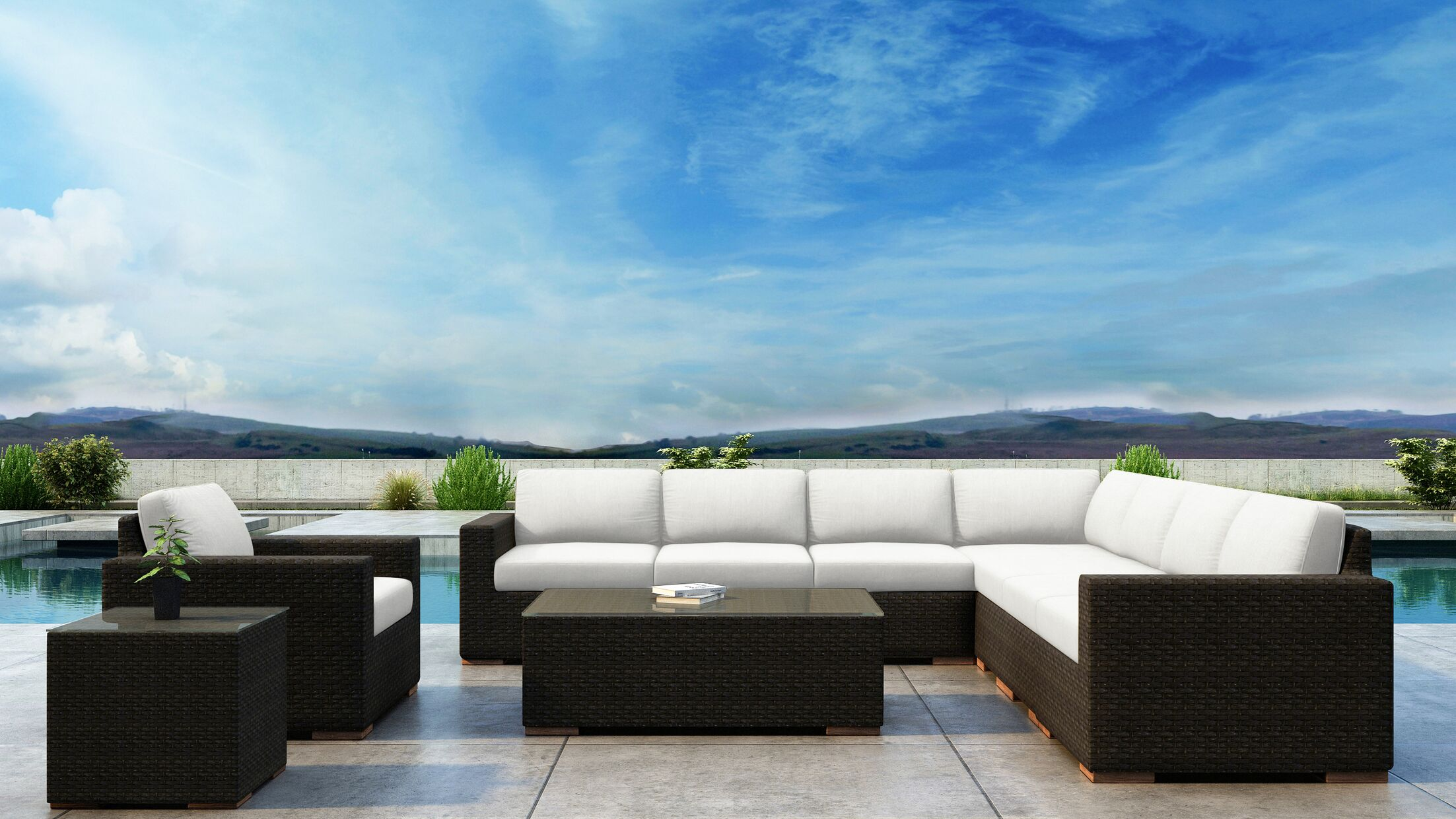 Glen Ellyn 10 Piece Sectional Set with Sunbrella Cushion Cushion Color: Canvas Natural