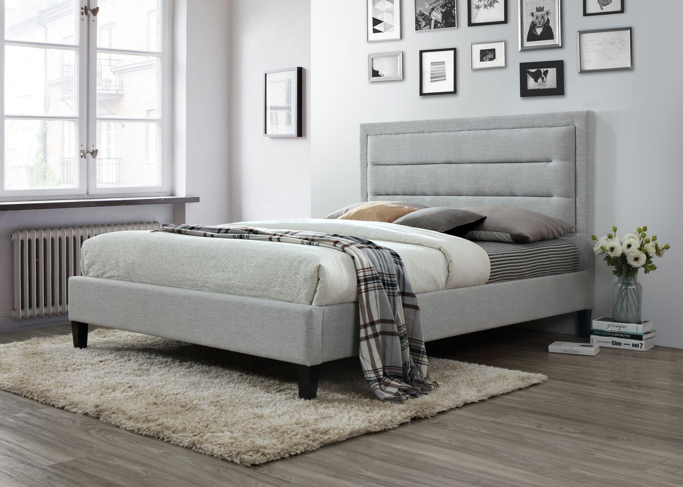 Garway Upholstered Platform Bed Size: King, Color: Light Gray