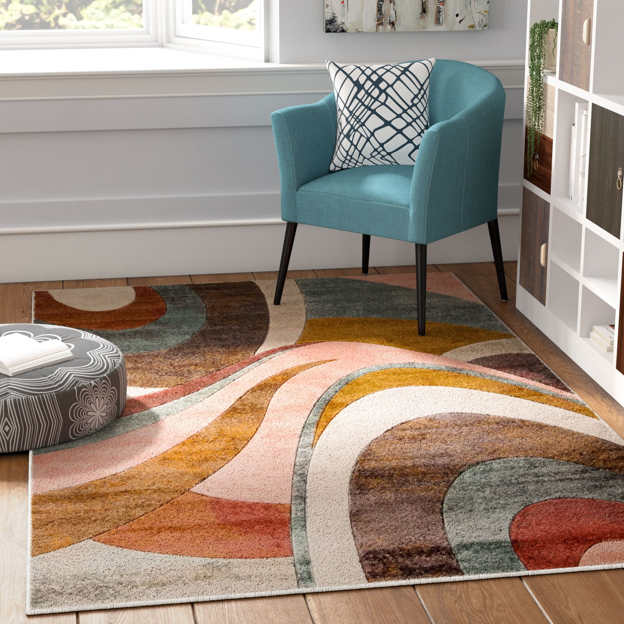 Dufresne Brown/Red Area Rug Rug Size: Rectangle 5'2