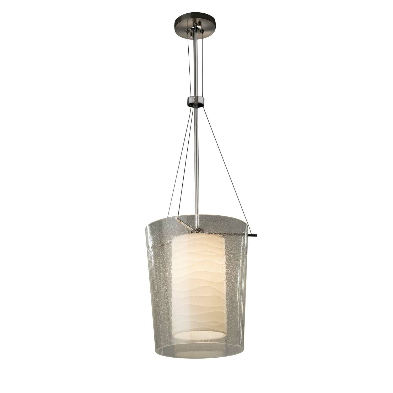Salaam 1-Light Drum Pendant Shade Color: Waterfall, Finish: Brushed Nickel, Bulb Type: Dedicated LED