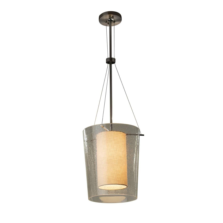 Kenyon 1-Light Drum Pendant Finish: Brushed Nickel, Shade Color: Cream, Bulb Type: Dedicated LED