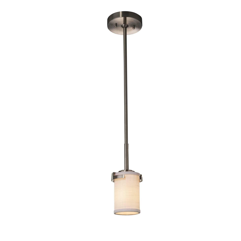 Kenyon 1-Light Cylinder Pendant Finish: Brushed Nickel, Shade Color: White, Bulb Type: Dedicated LED