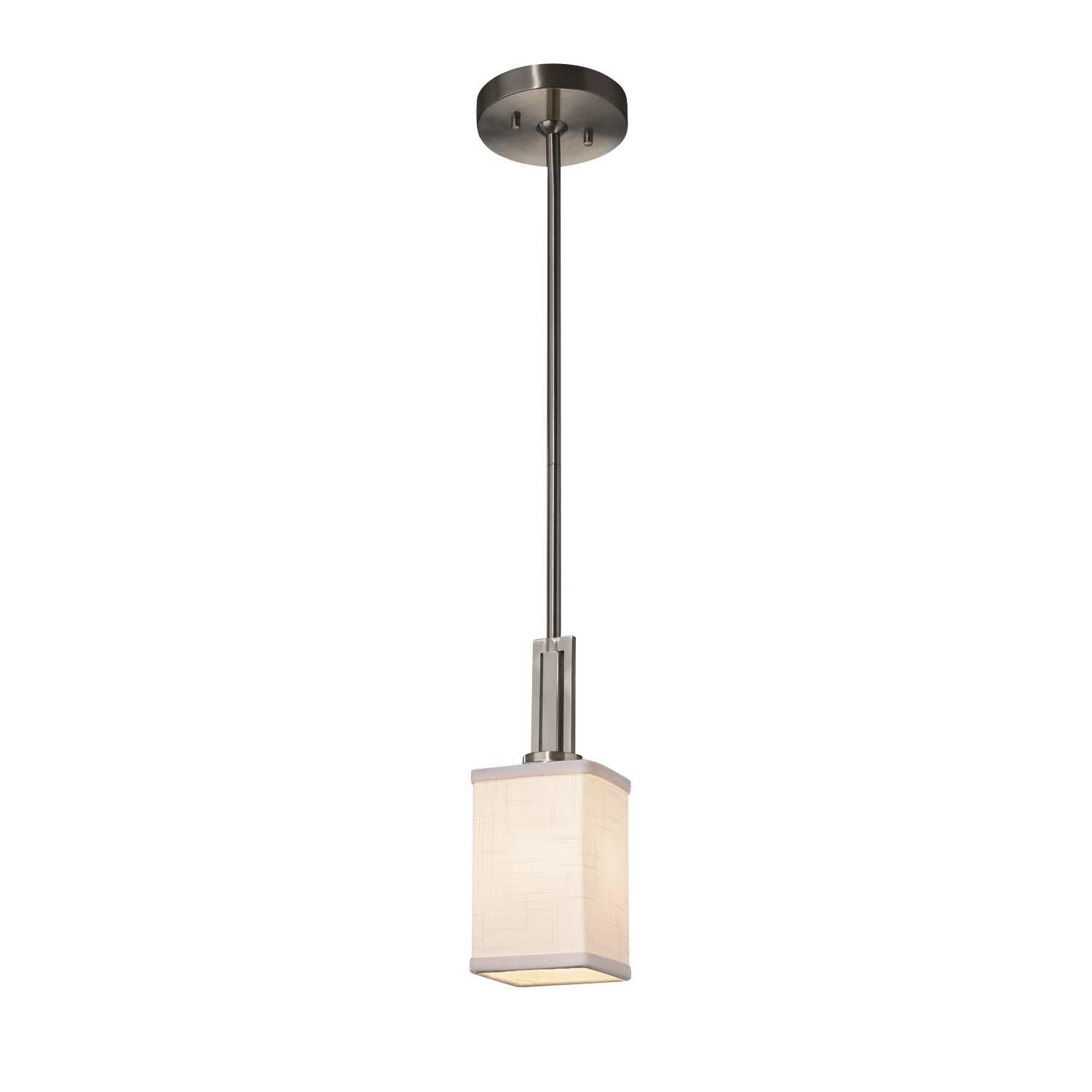 Kenyon 1-Light Rectangle Pendant Finish: Brushed Nickel, Shade Color: Cream, Bulb Type: Dedicated LED