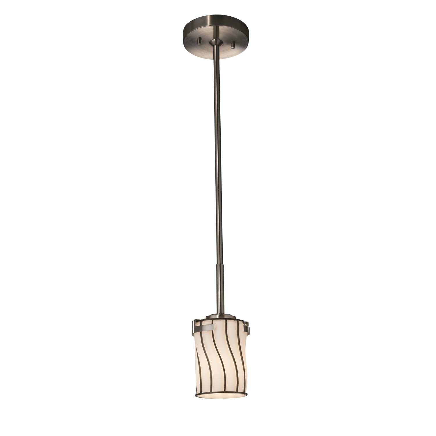 Grisby 1-Light Cylinder Pendant Finish: Brushed Nickel, Shade Finish: Swirl with Clear Bubbles, Bulb Type: Dedicated LED