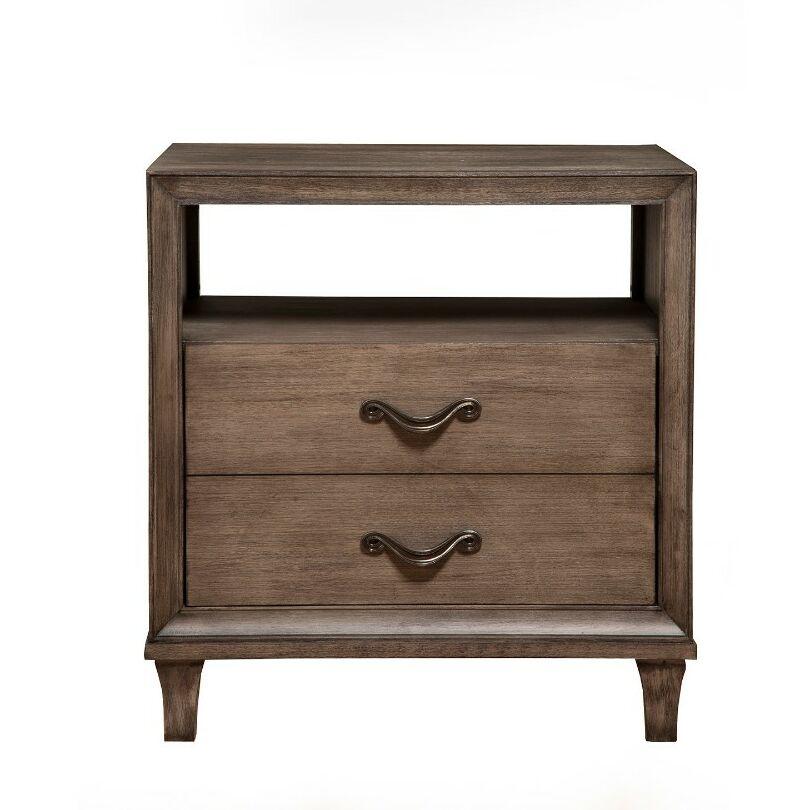 Destrempe Open Shelf 2 Drawer Nightstand