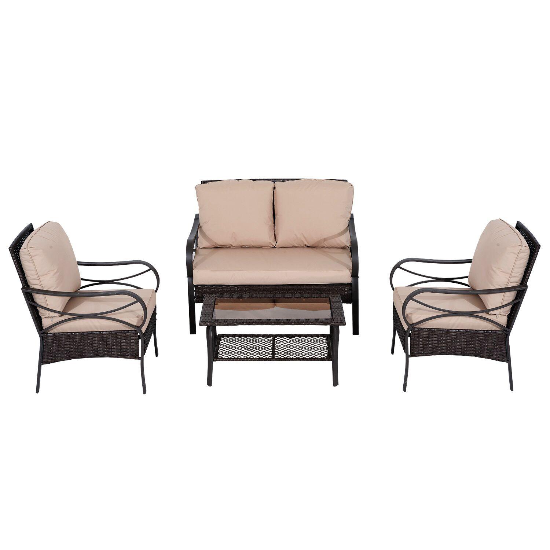 Azaiah 4 Piece Rattan Sofa Set with Cushion