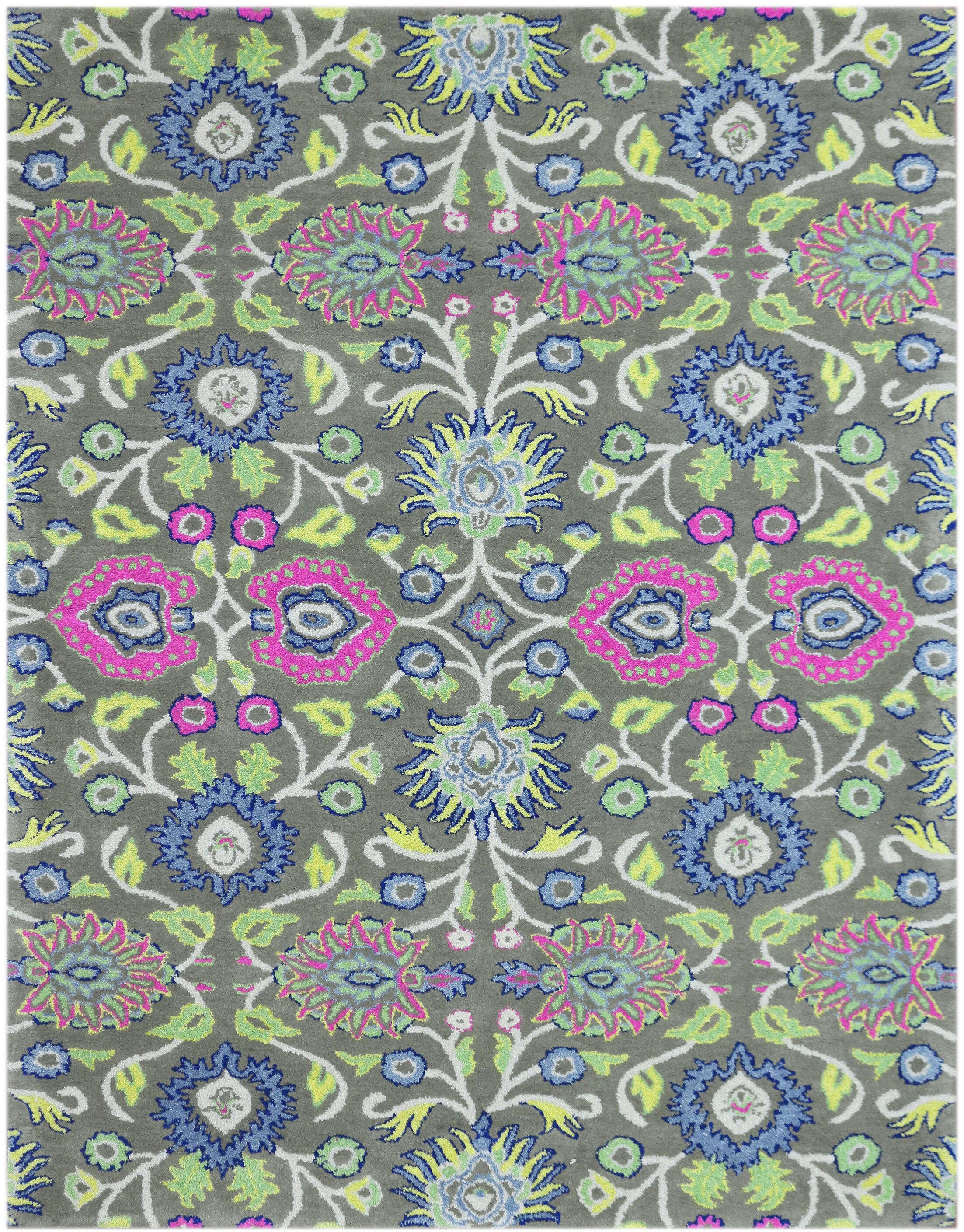 Harshbarger Hand-Tufted Wool Olive Green Area Rug Rug Size: Rectangle 8' x 11'