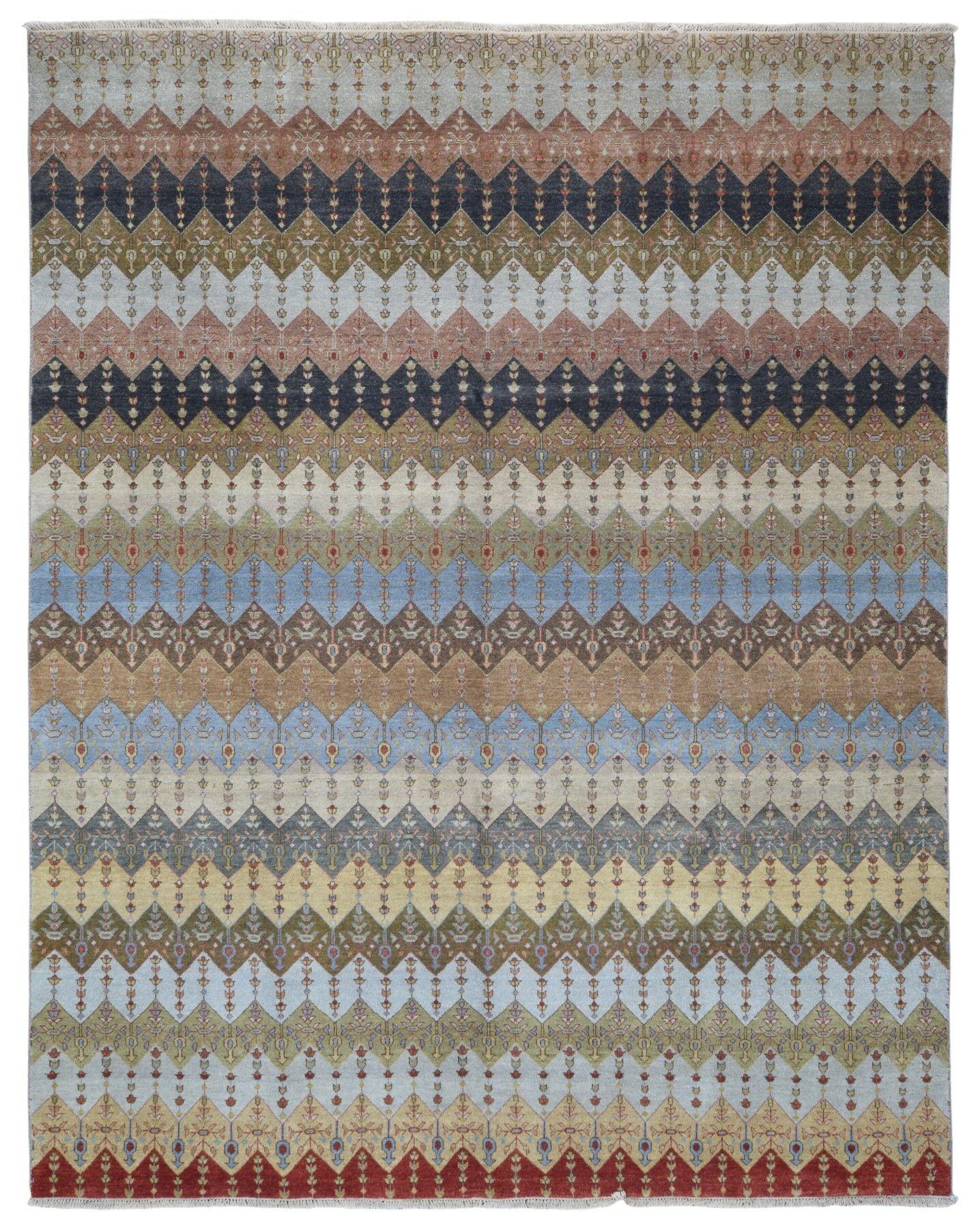 One-of-a-Kind Allenbie Modern Design Hand-Knotted Wool Beige/Blue Area Rug