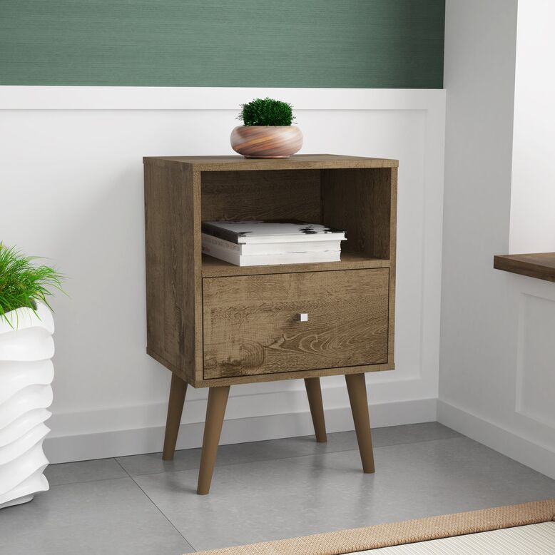 Amory 1 Drawer Nightstand Color: Rustic Brown