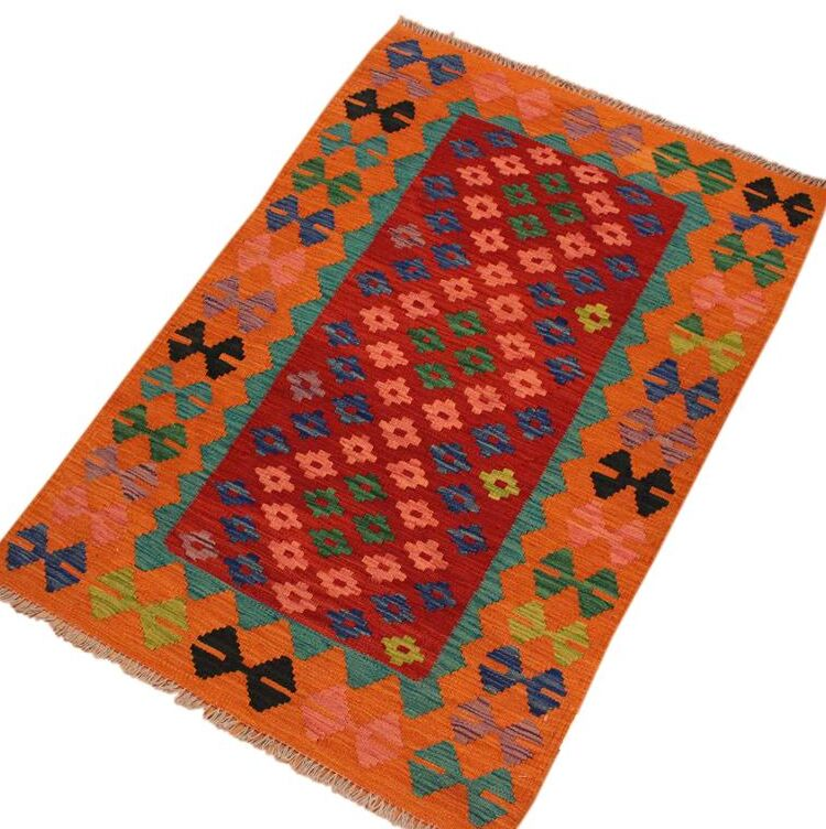 One-of-a-Kind Bakerstown Hand-Woven Orange/Red Area Rug