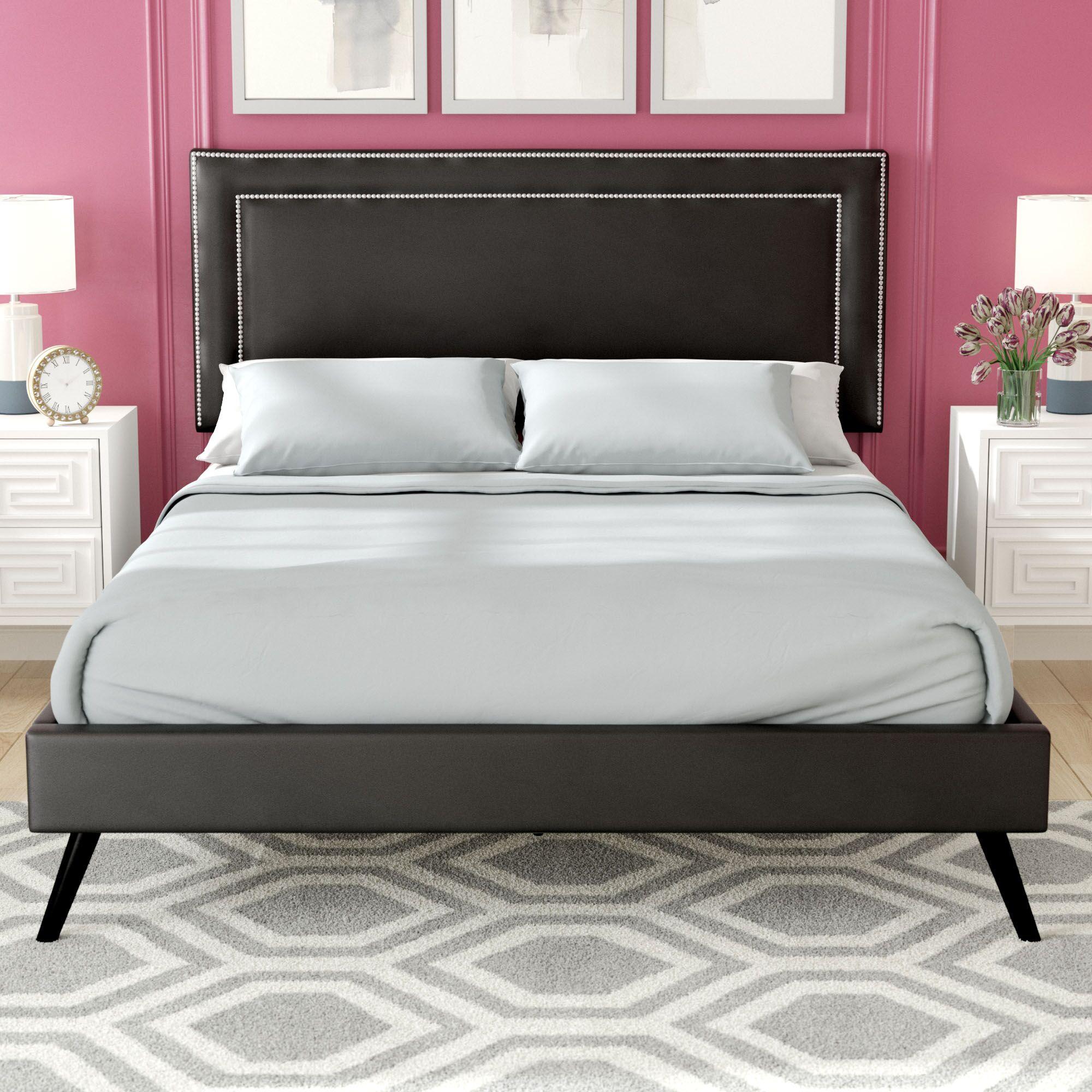 Eyre Upholstered Platform Bed Color: Black, Size: Queen