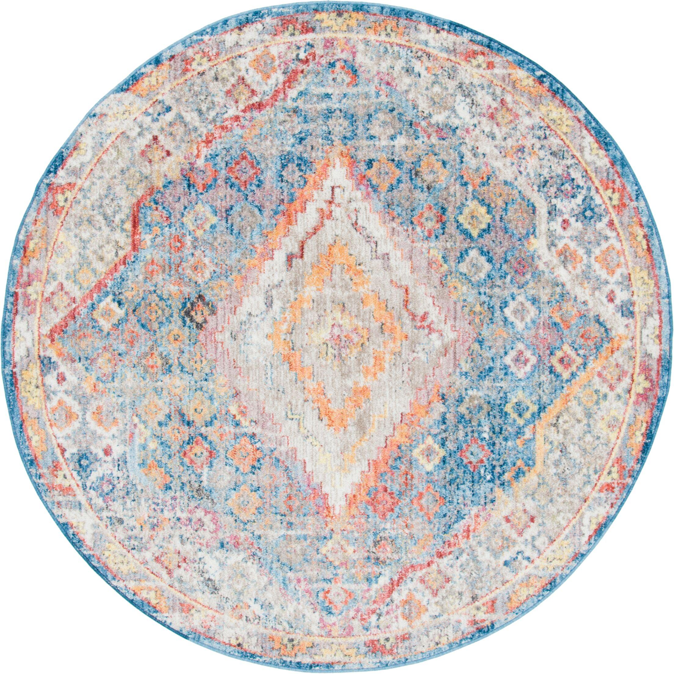 Gomez Blue/Orange Area Rug Rug Size: Round 6'