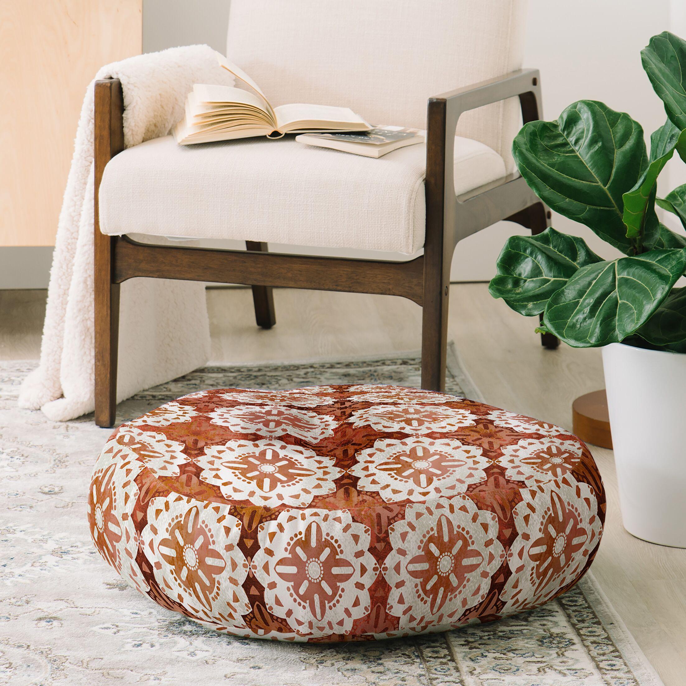 Schatzi Boho Medallion Floor Pillow Color: Brown
