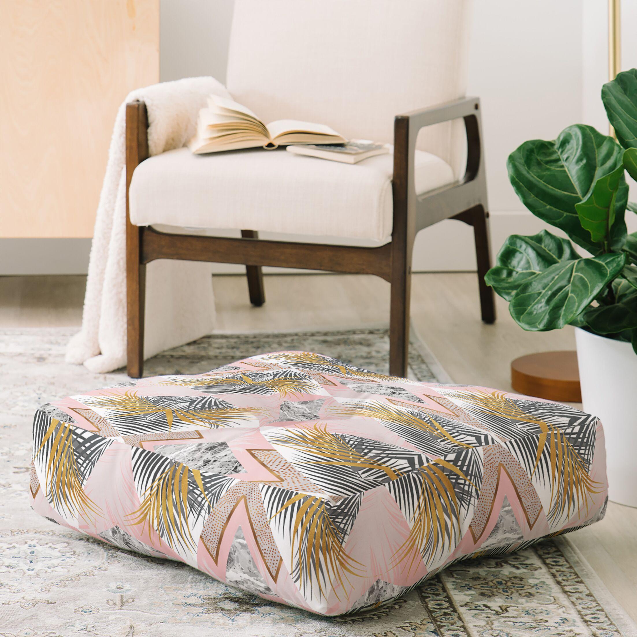 Marta Barragan Camarasa Marbled Tropical Geometric Pattern Floor Pillow