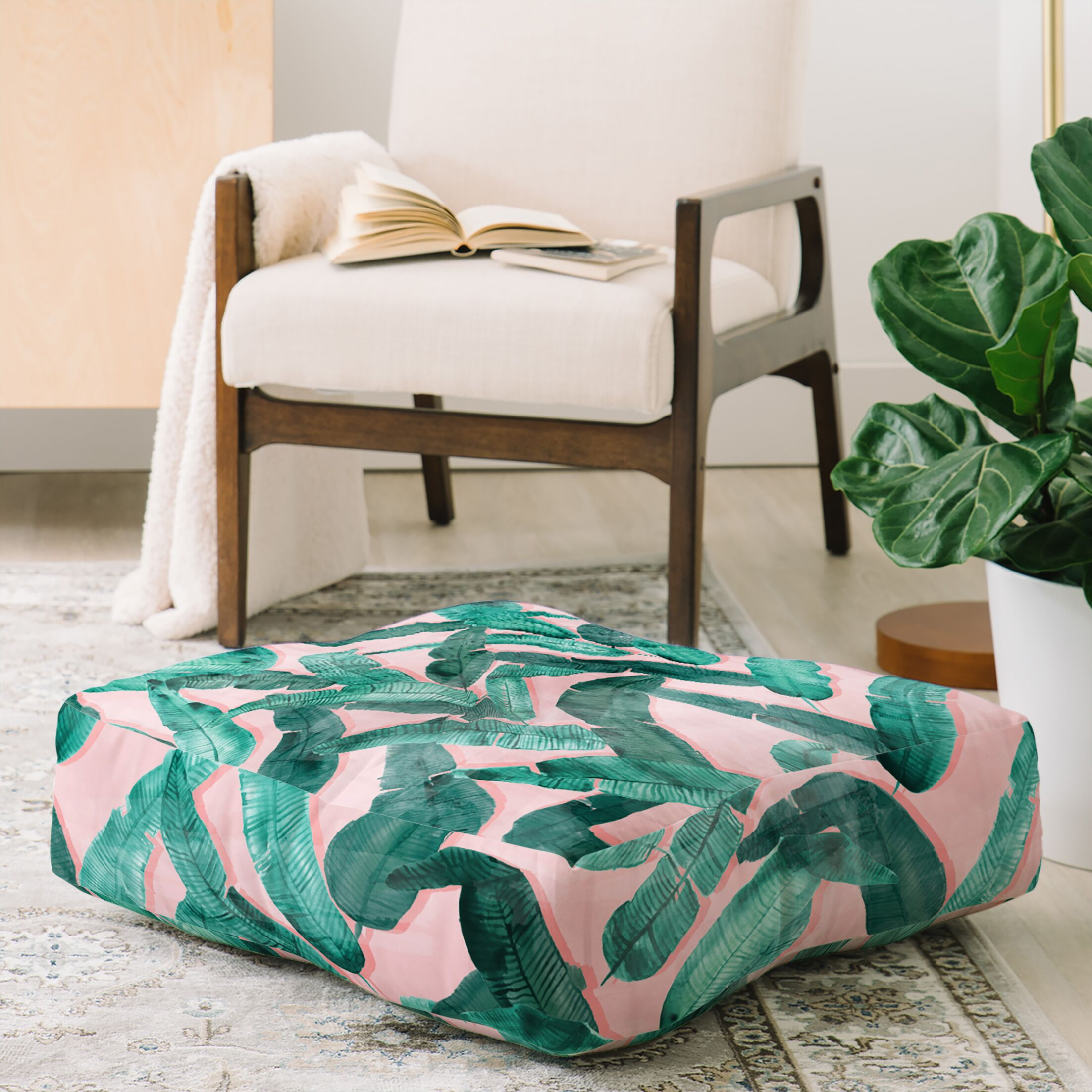 Dash and Ash Banana Leaf Floor Pillow