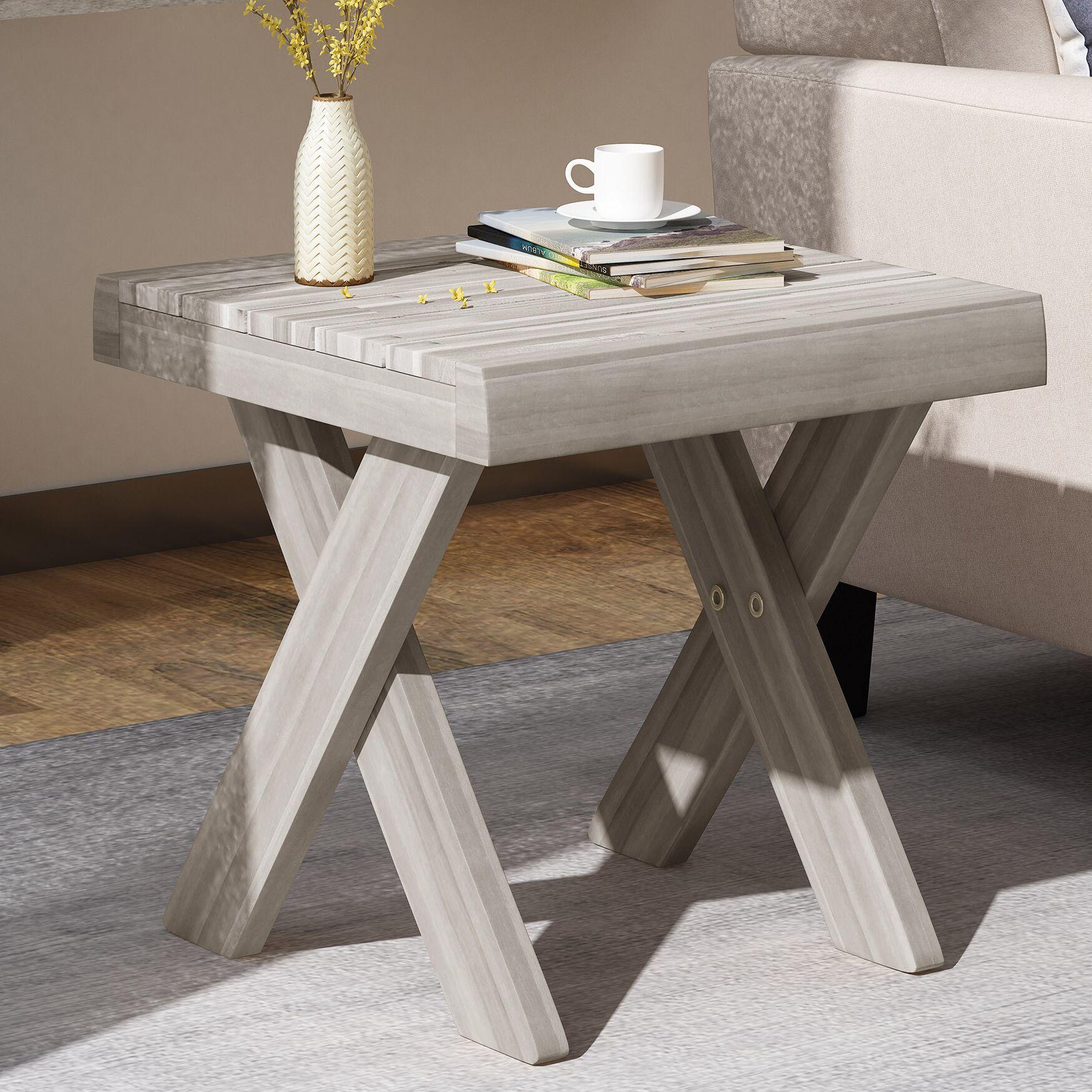 Indoor Farmhouse Acacia Wood End Table Color: Sandblast Light Gray