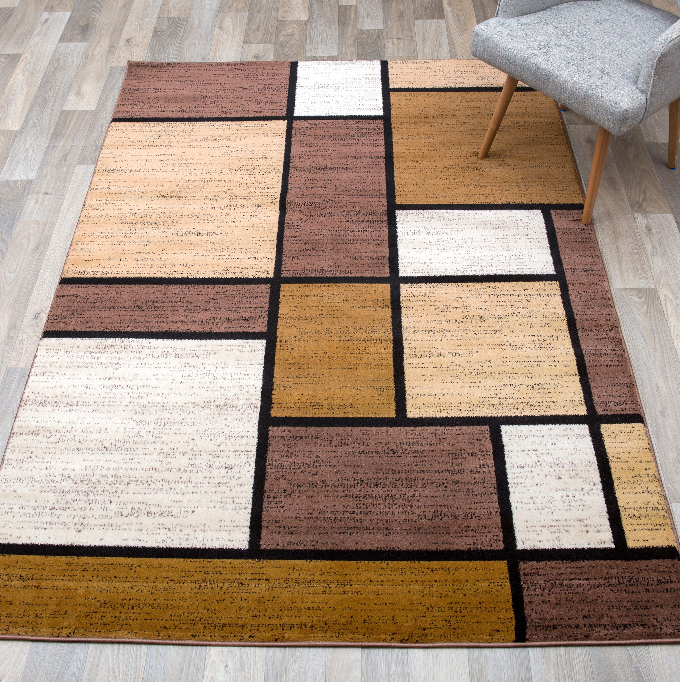 Barroso Boxes Brown Area Rug Rug Size: Rectangle 9'x 12'