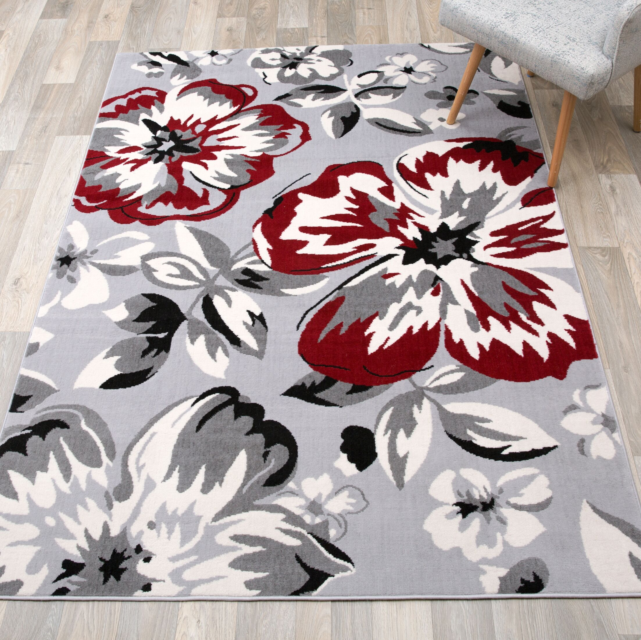 Ericson Floral Circles Red/Gray Area Rug Rug Size: Rectangle 10'x 14'