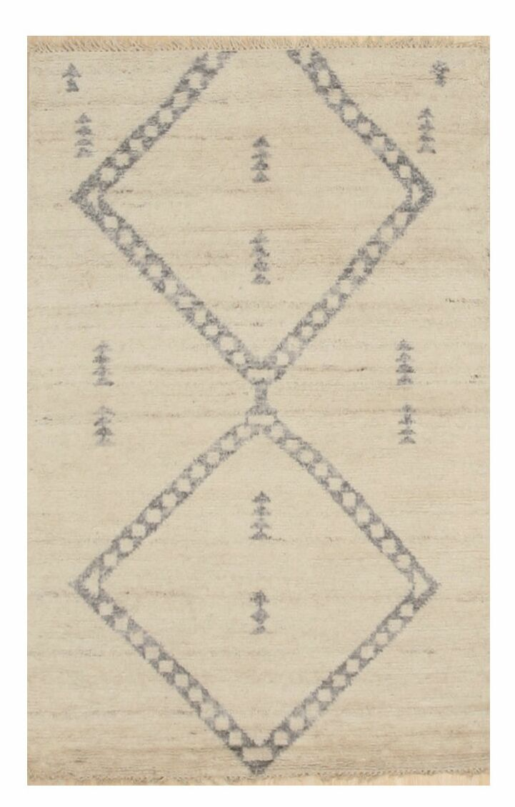 Tessier Trellis Transitional Hand-Knotted Wool Ivory Area Rug