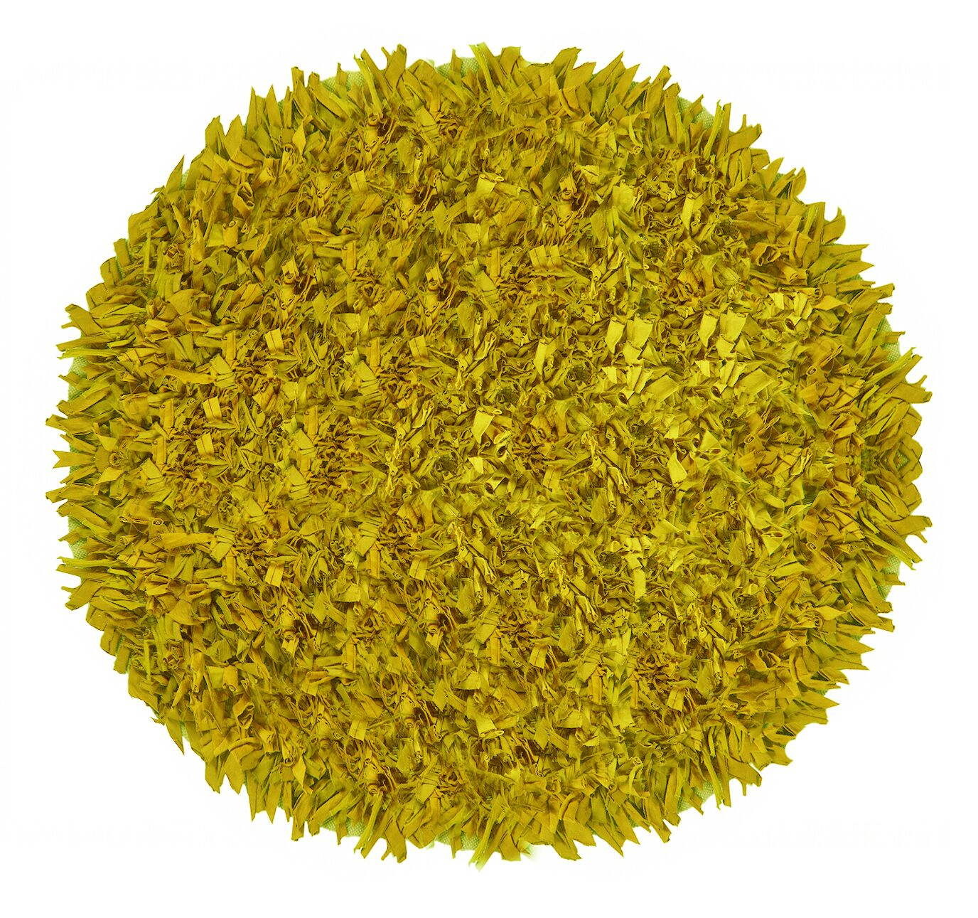 Kaylyn Hand-Knotted Cotton Yellow Area Rug Rug Size: Round 4'9