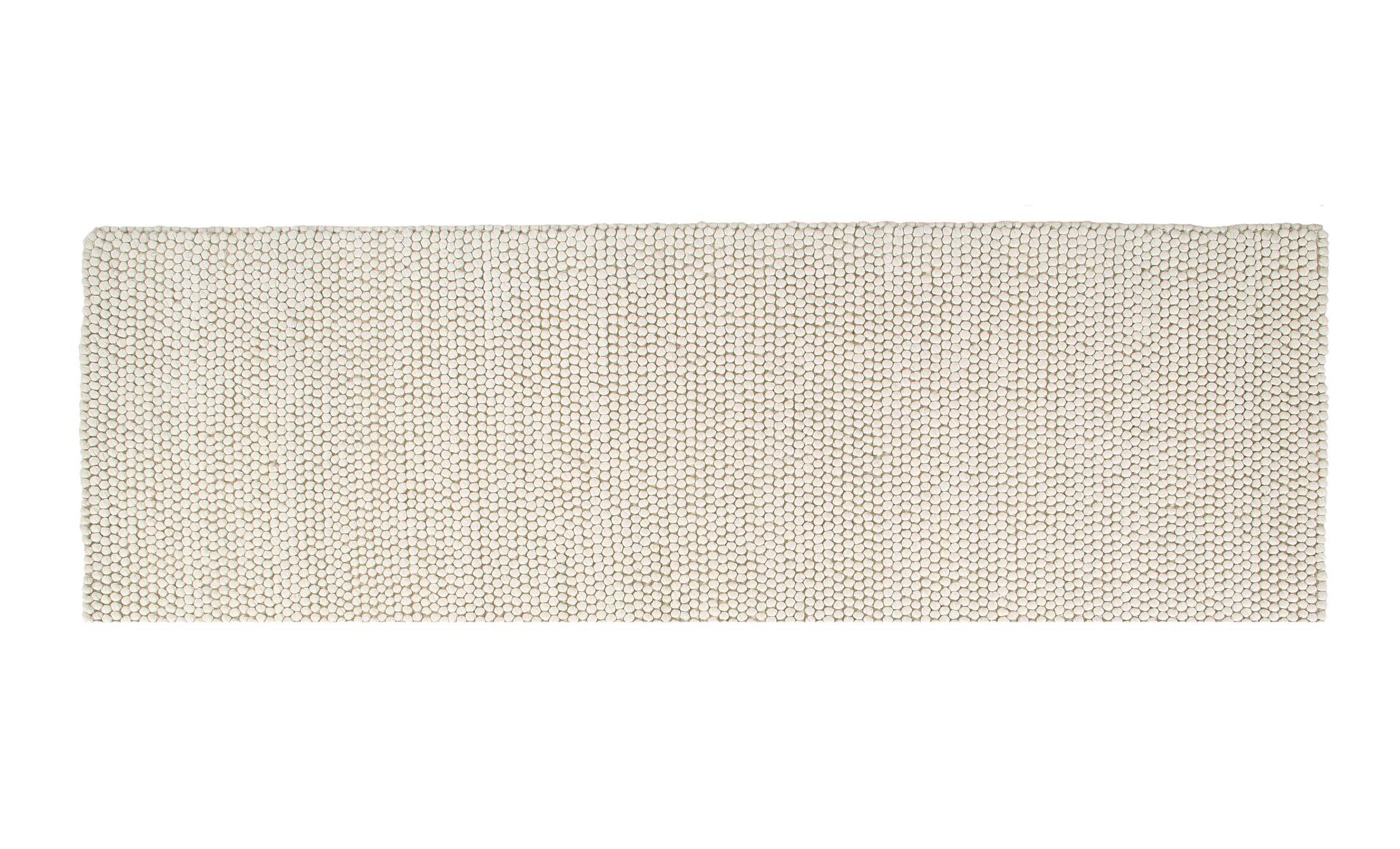 Boston Hand-Woven Wool White Area Rug Rug Size: Runner 2' x 6'