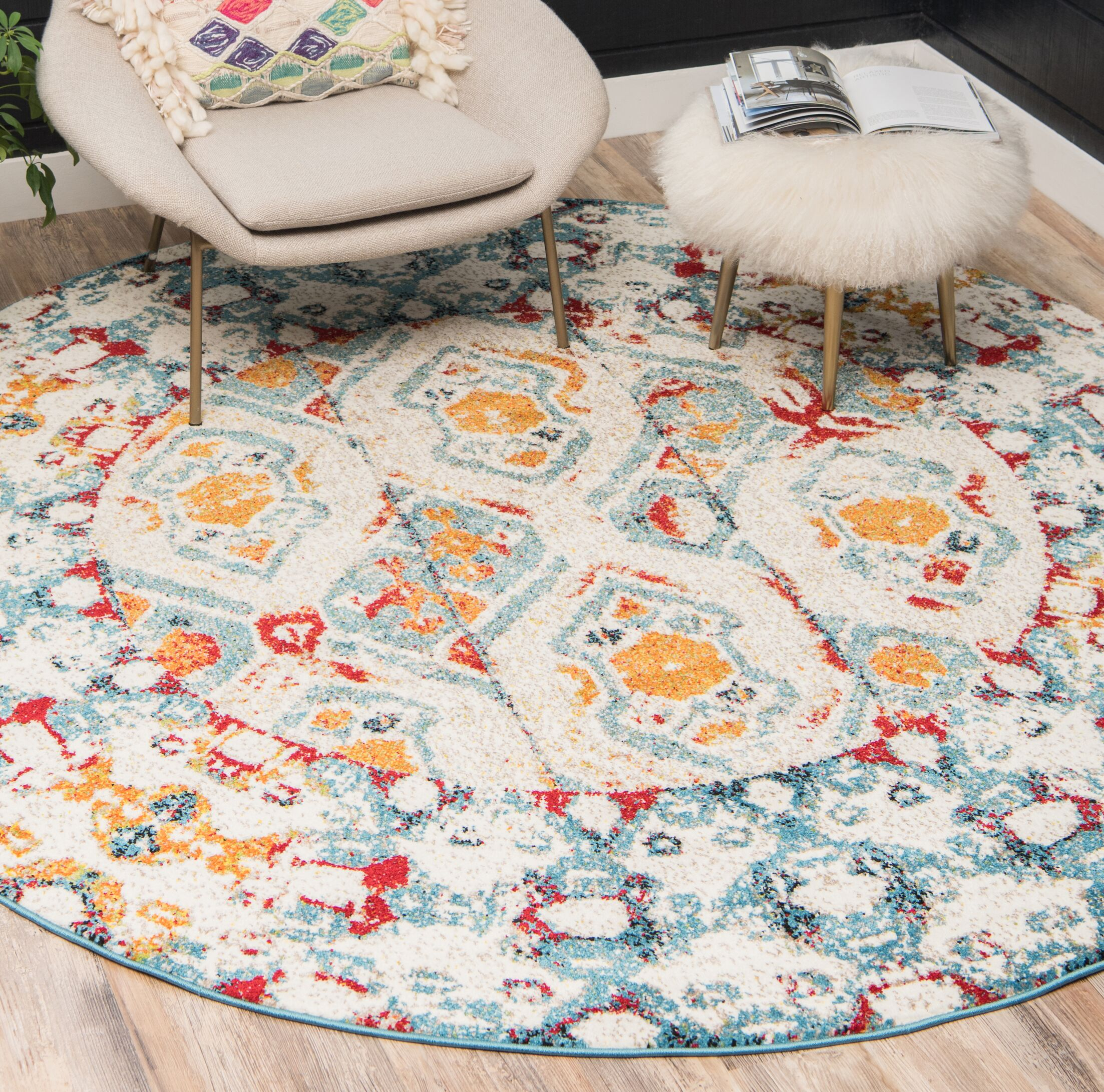 Hartell Blue/Yellow Area Rug Rug Size: Round 8'