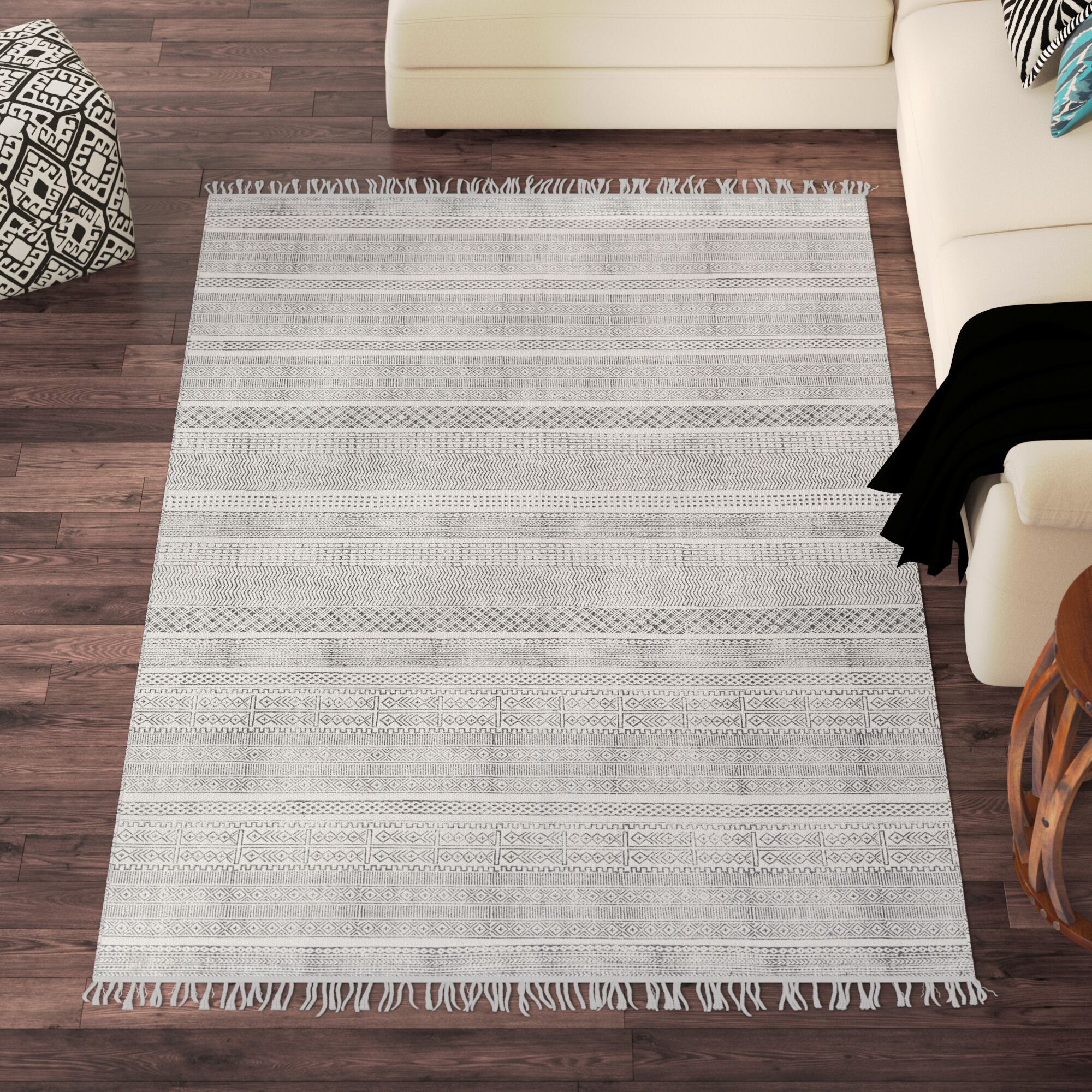 Blairsville Hand-Woven Gray Area Rug Rug Size: Rectangle 5' x 7'6