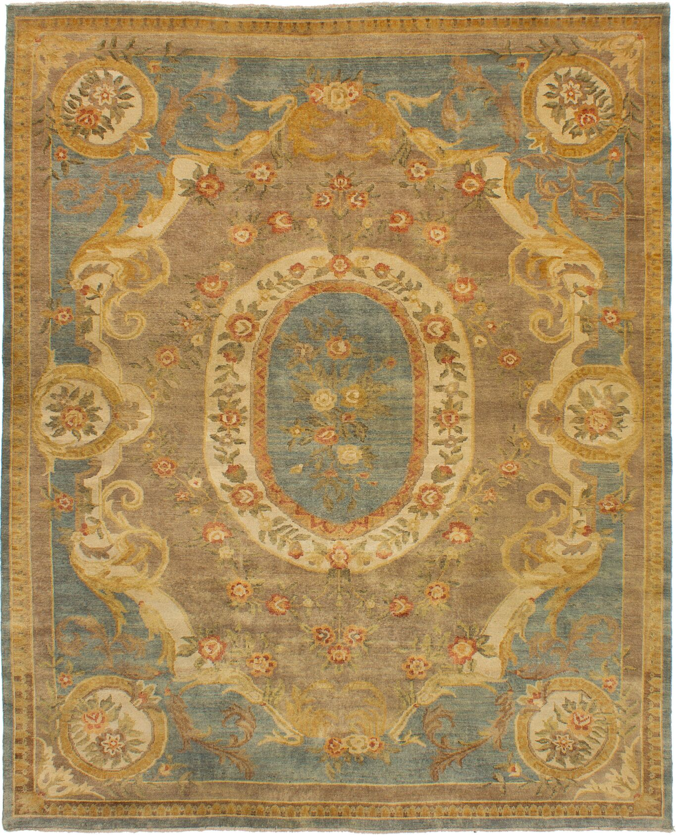 One-of-a-Kind Doggett Hand-Knotted Wool Light Blue/Beige Area Rug