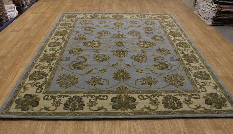 Batten Oriental Hand-Tufted Wool Green Area Rug