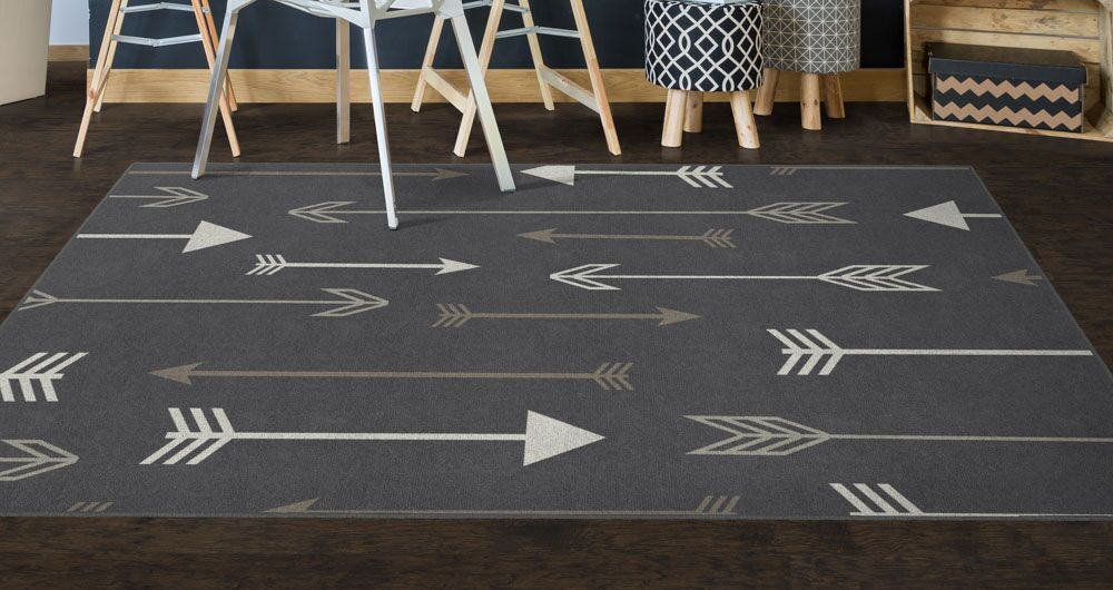 Kenzo Arrows Gray Area Rug Rug Size: Rectangle 7'6