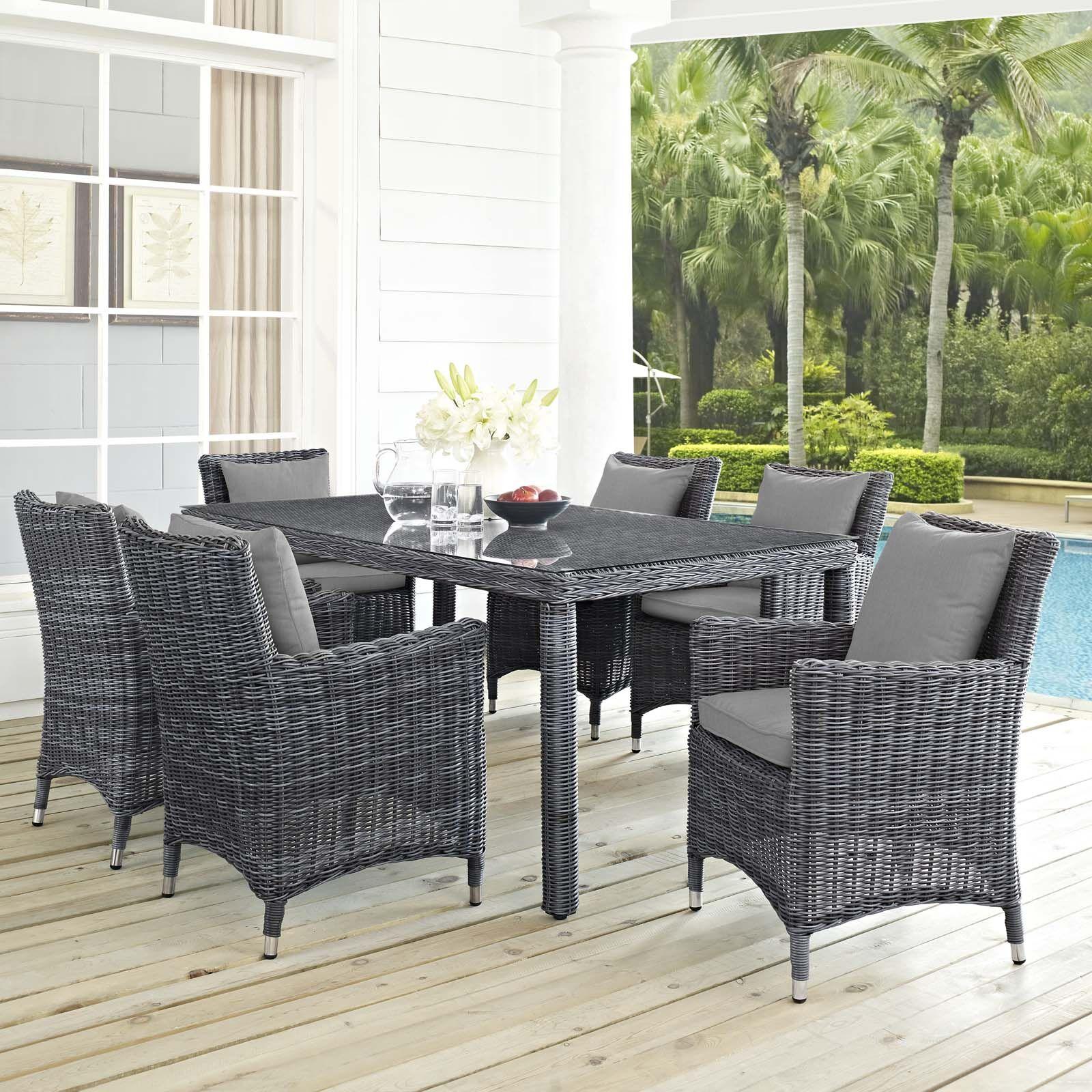 Alaia 7 Piece Rattan Sunbrella Dining Set with Cushions Cushion Color: Gray