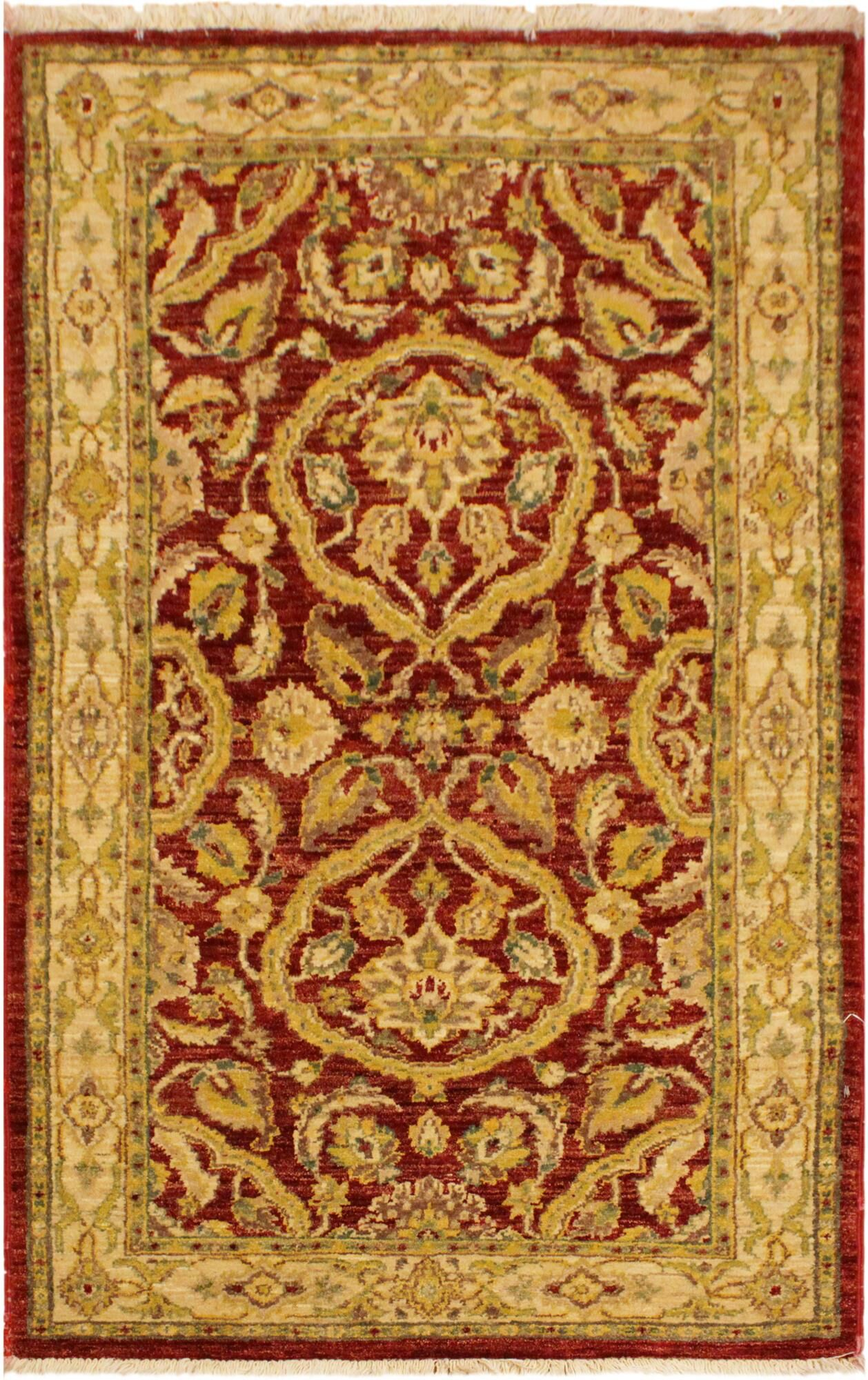 One-of-a-Kind Lottie Hand-Knotted Wool Red/Gold Area Rug