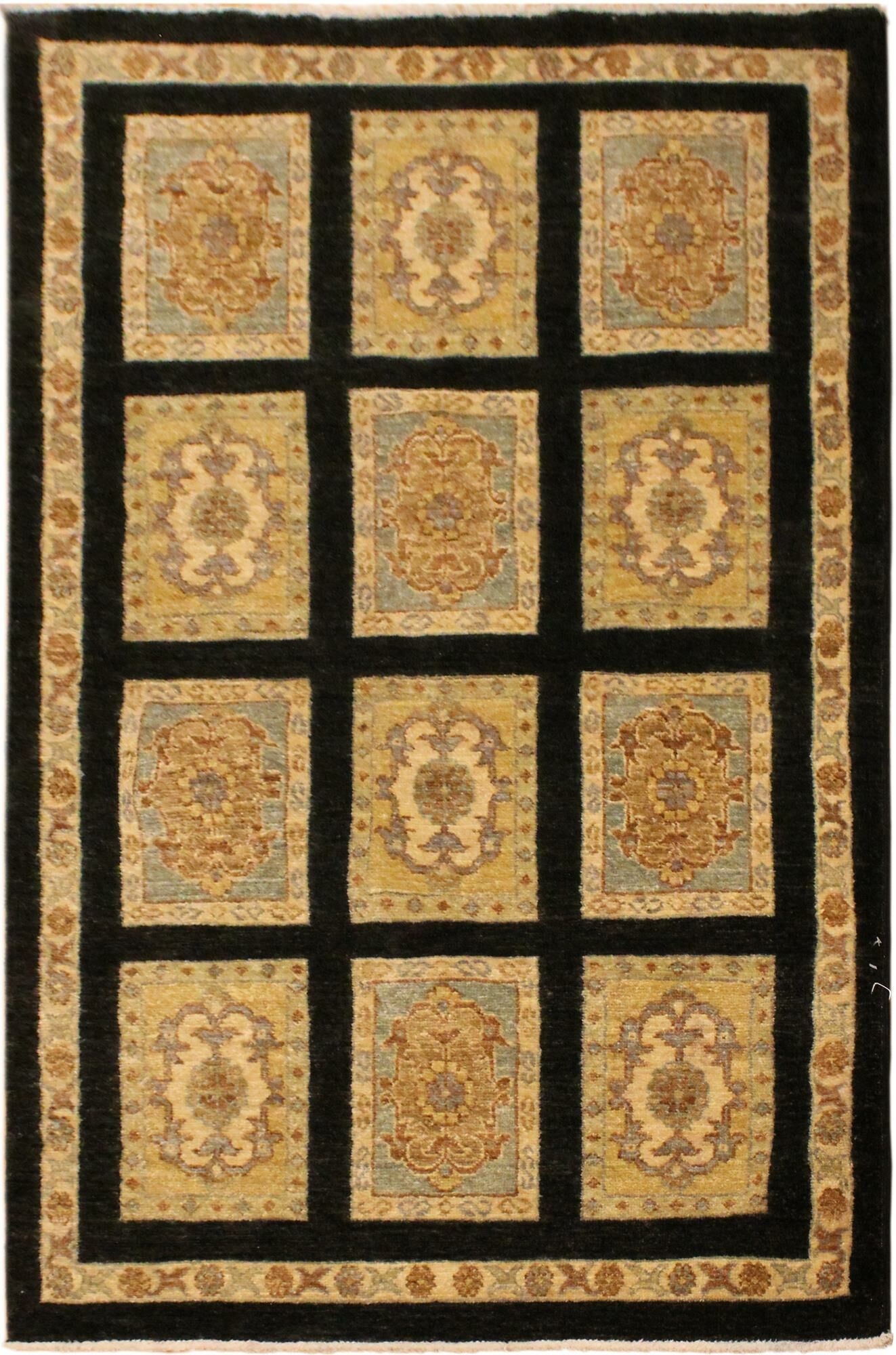 One-of-a-Kind Lottie Hand-Knotted Wool Black/Beige Area Rug