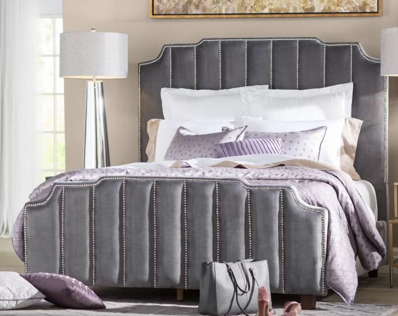 Gillum Upholstered Panel Headboard Size: Double, Upholstery: Gray
