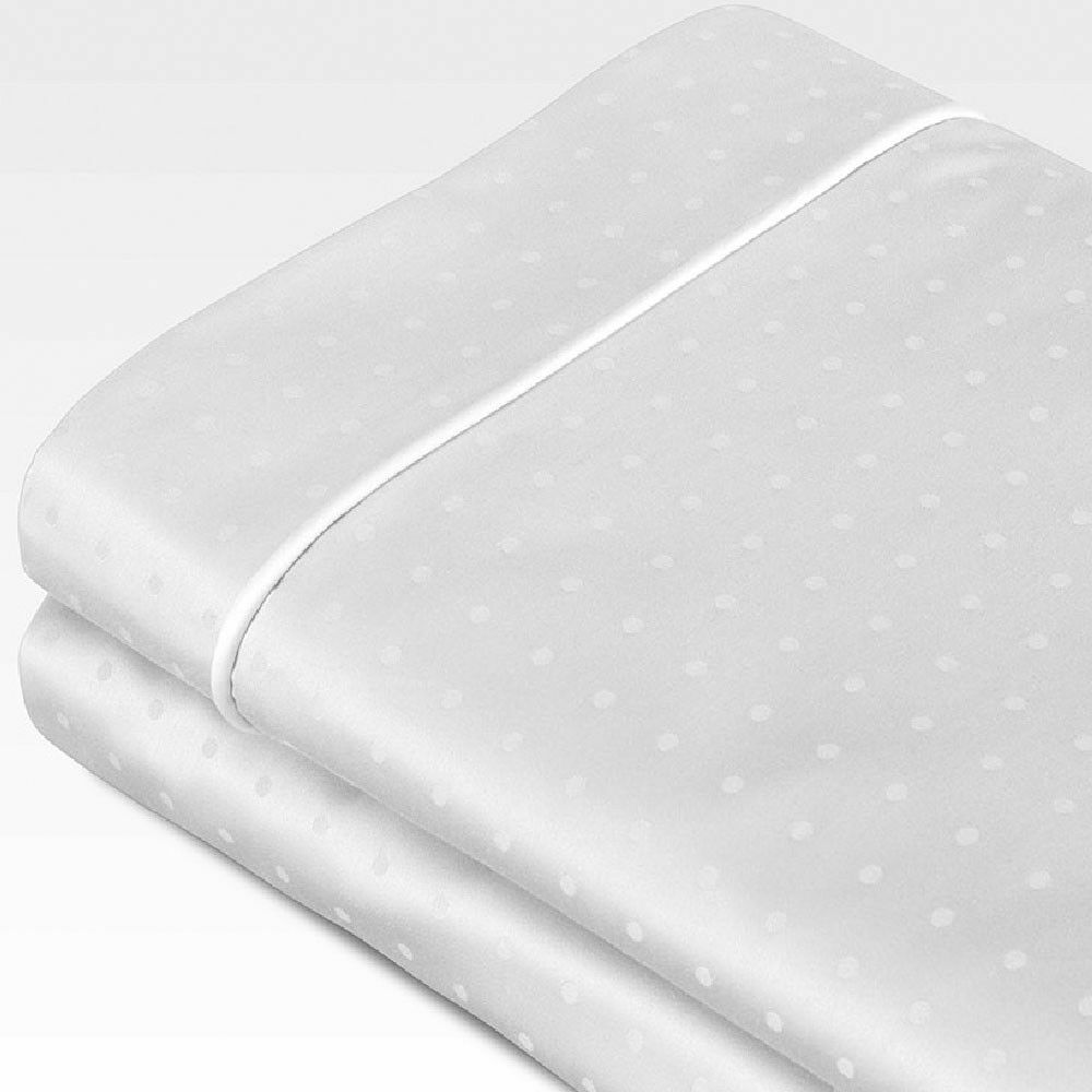 Swiss Dot Jacquard 100% Cotton 700 Thread Count Sheet Set Color: White, Size: Twin
